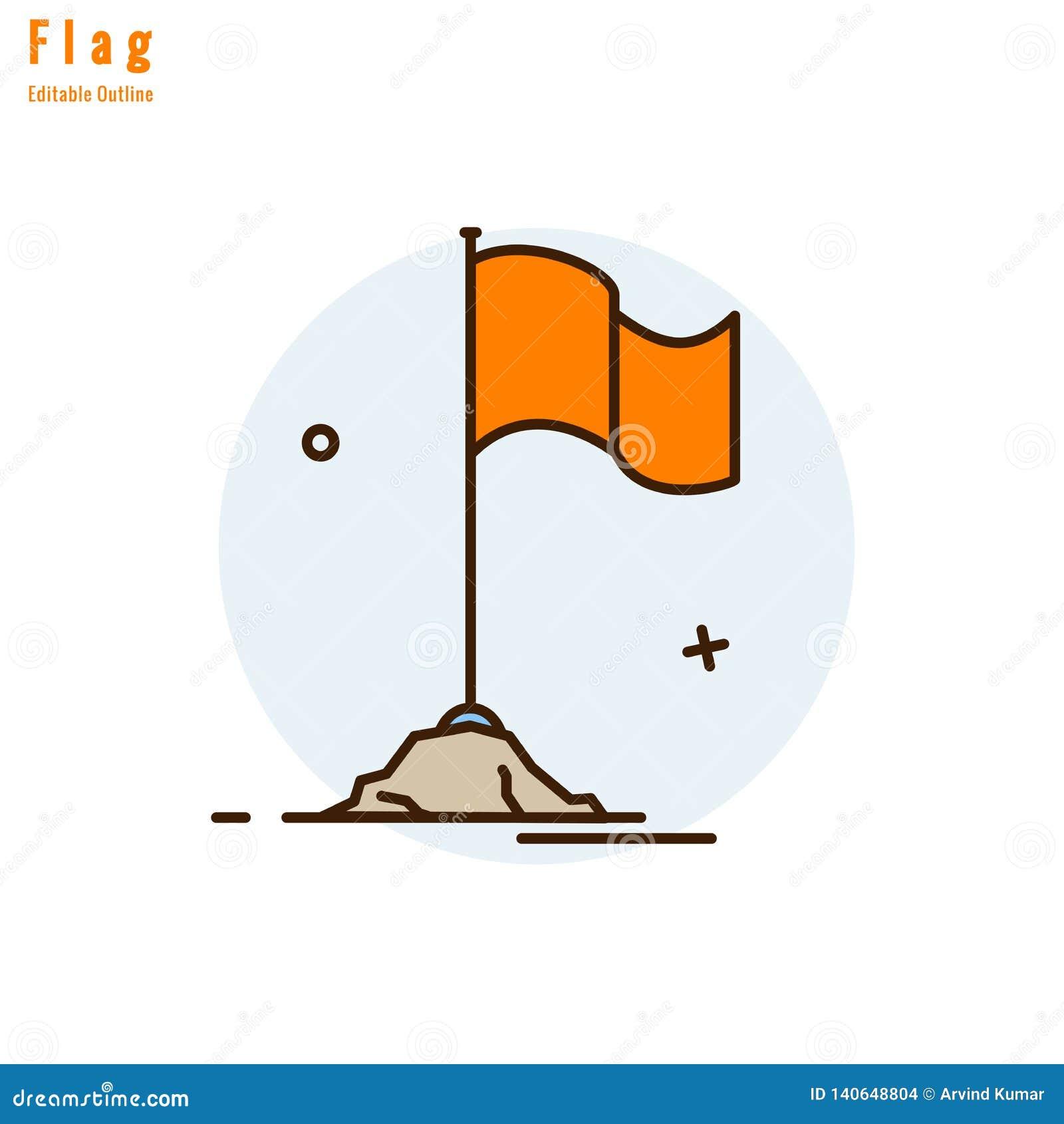 Flaggasymbol, konkurrensflagga, affärsmilstolpe, framgång, flagga för tempelapelsin, tunn linje redigerbar slaglängd