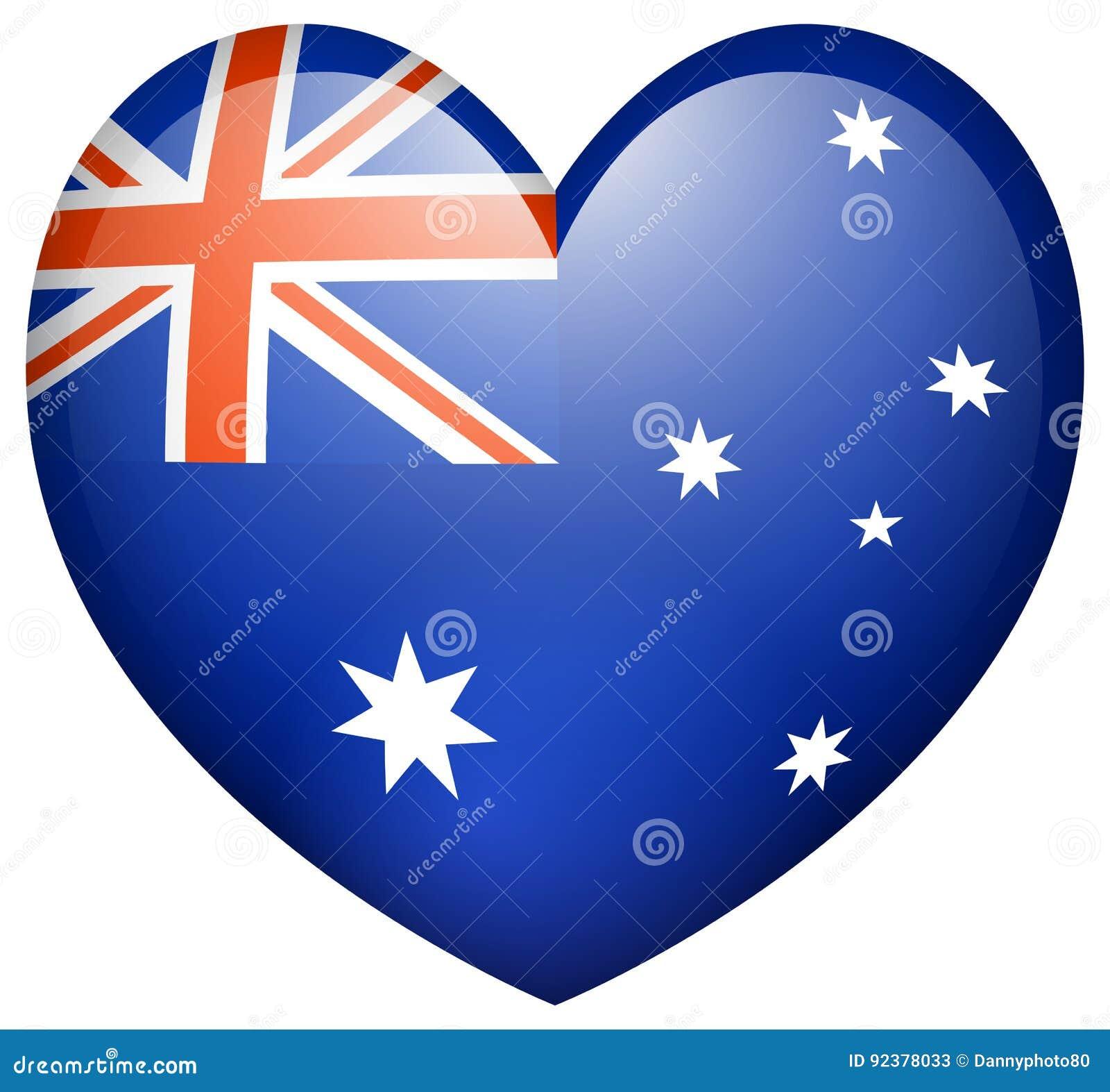 Flagge Auf Australien In Der Herzform Vektor Abbildung ...