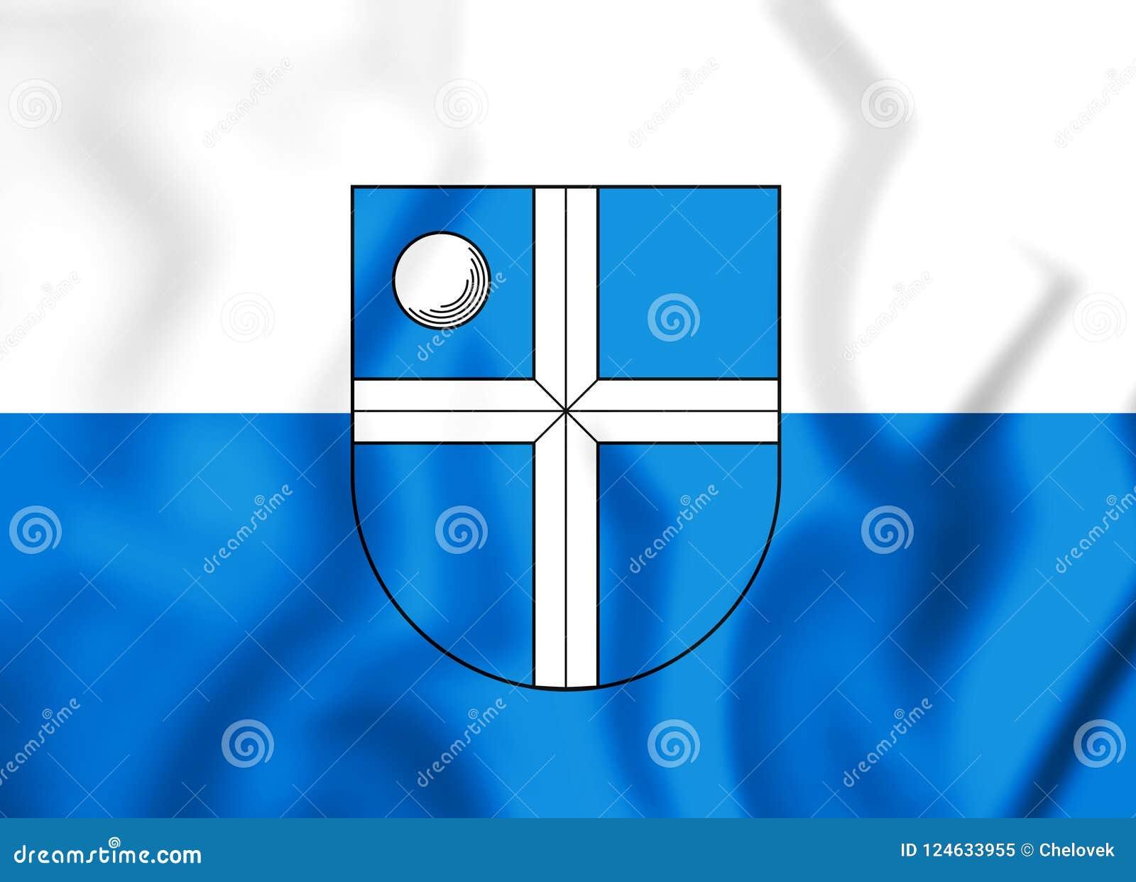 Flagge 3D von Bruchsal Baden-Wurttemberg, Deutschland