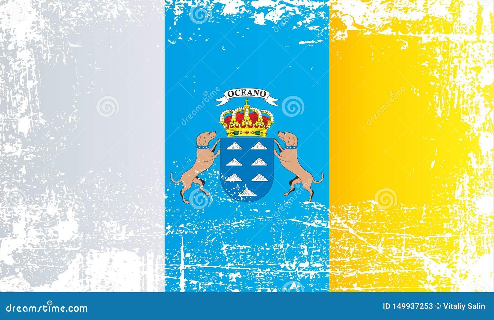 Flagge der Kanarischen Inseln, Spanien Geknitterte schmutzige Stellen