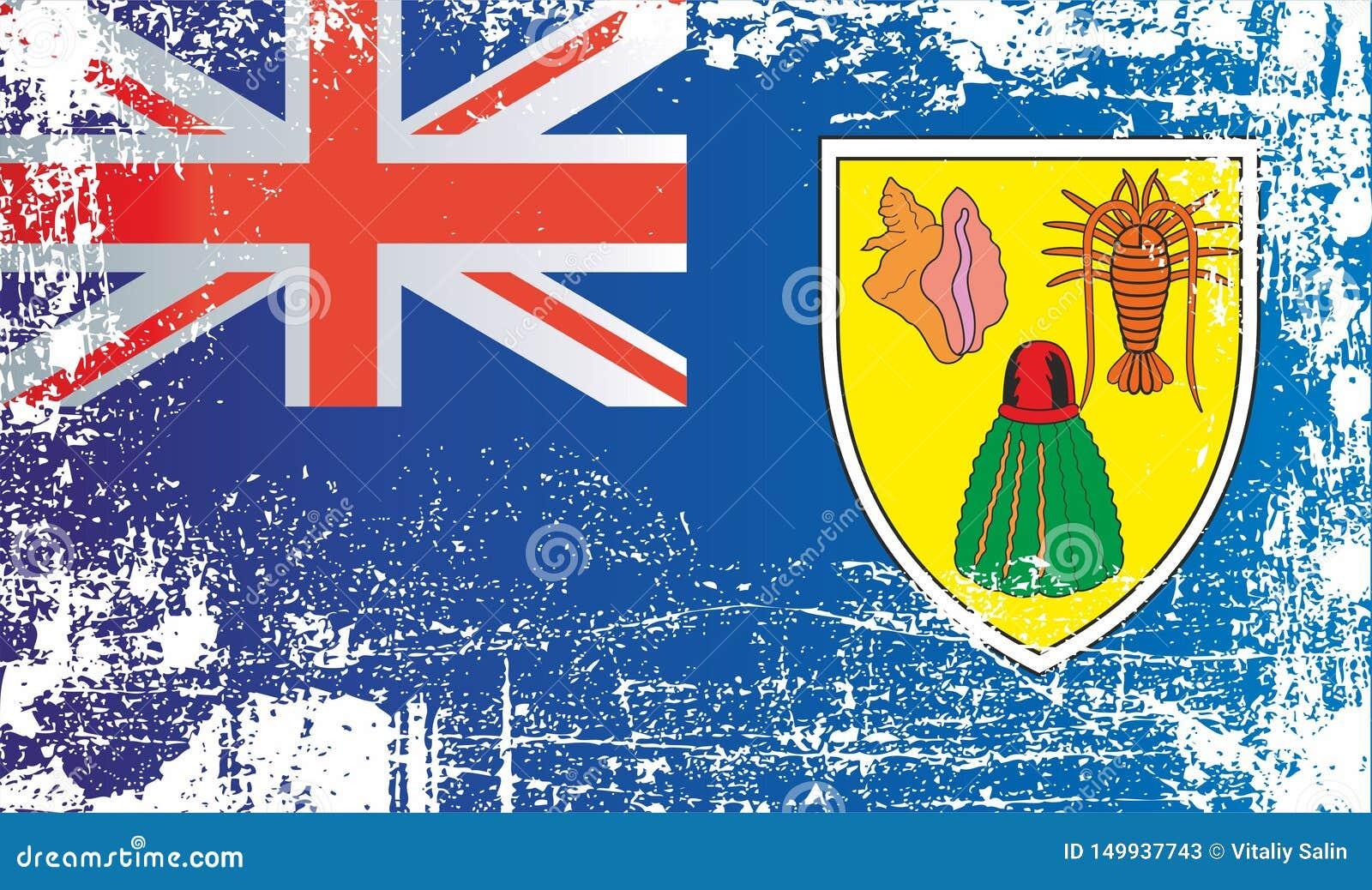 Flagge der Turks- und Caicosinseln, britische Überseegebiete Geknitterte schmutzige Stellen