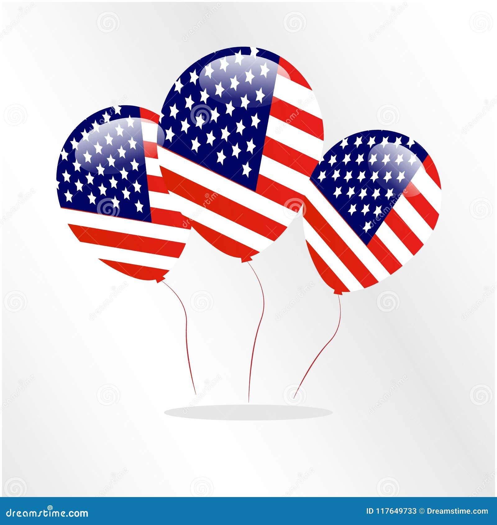 Flagge Logo Happy Icon Ballon-Land Amerikas USA Stock