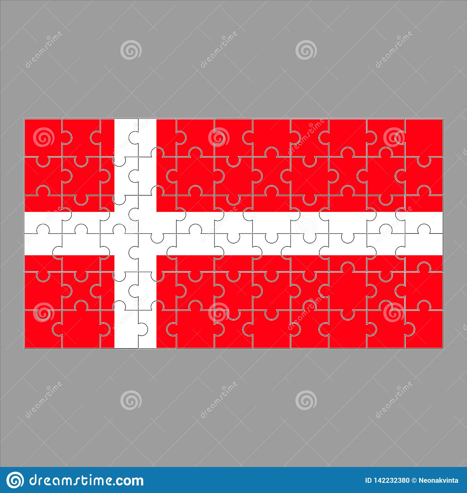 Flagge von Dänemark-Puzzlespiel auf grauem Hintergrund