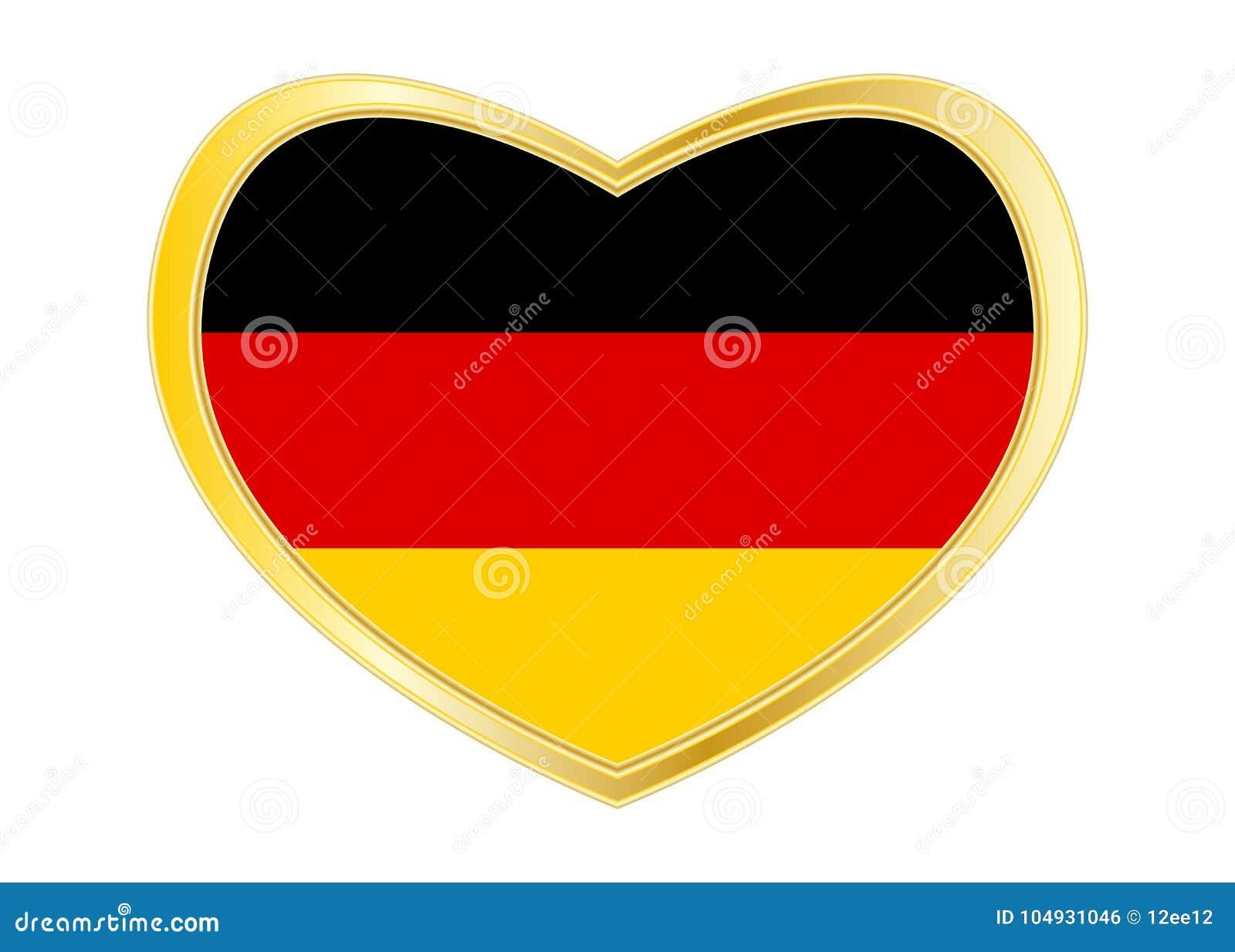 Flagge Von Deutschland In Der Herzform, Goldener Rahmen Vektor ...