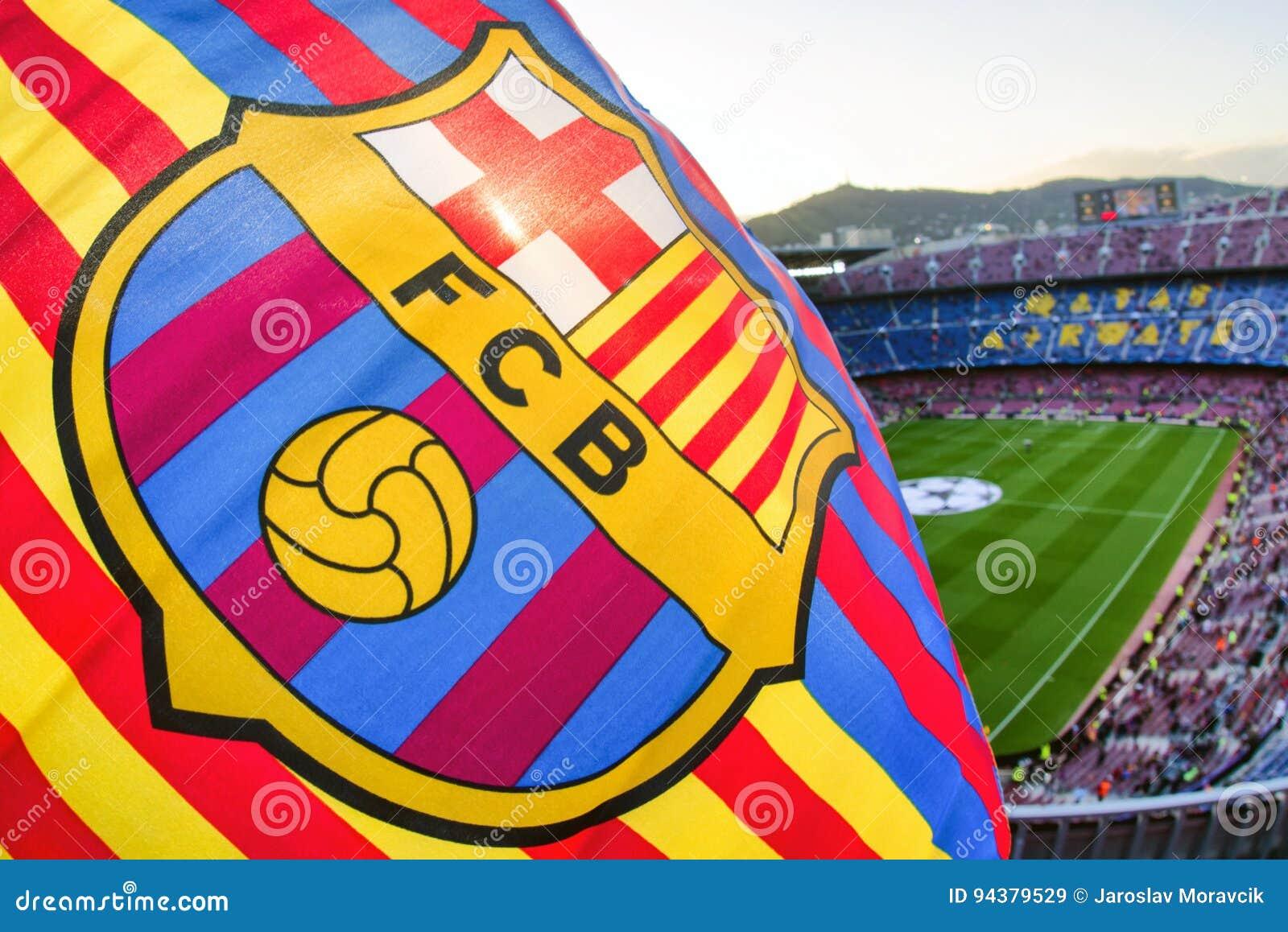 flagge von fc barcelona an stadion nou lager redaktionelles stockbild bild von barcelona lager 94379529 dreamstime