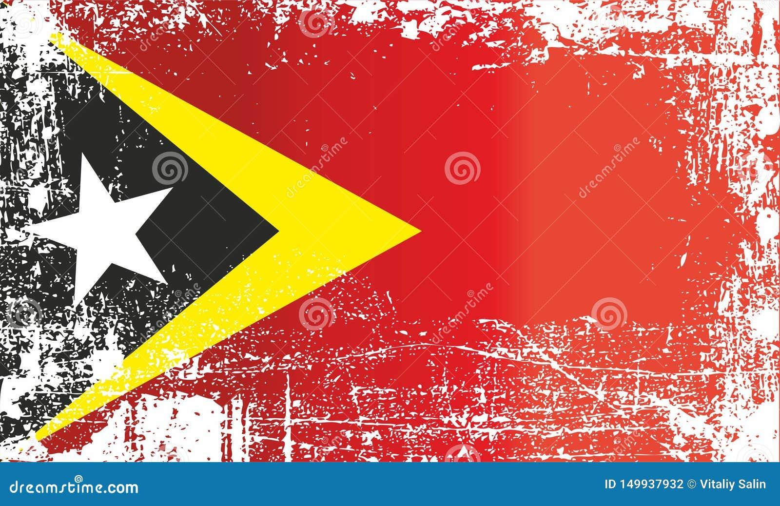 Flagge von Osttimor, demokratische Republik von Timor-Leste Geknitterte schmutzige Stellen