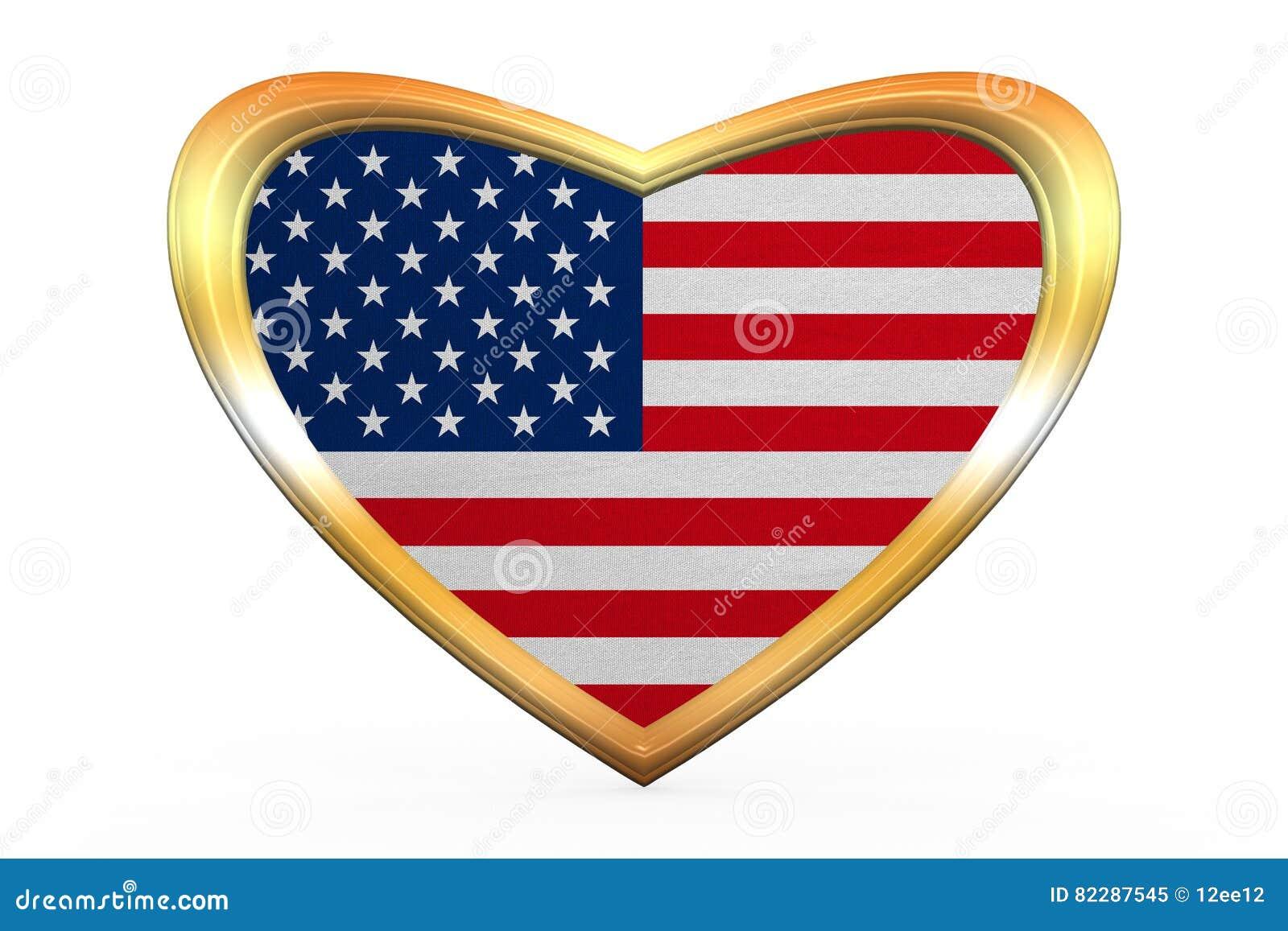 Flagge Von USA In Der Herzform, Goldener Rahmen Stockbild - Bild von ...