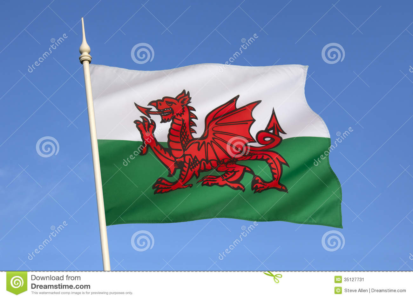 Flagge von Wales - Vereinigtem Königreich