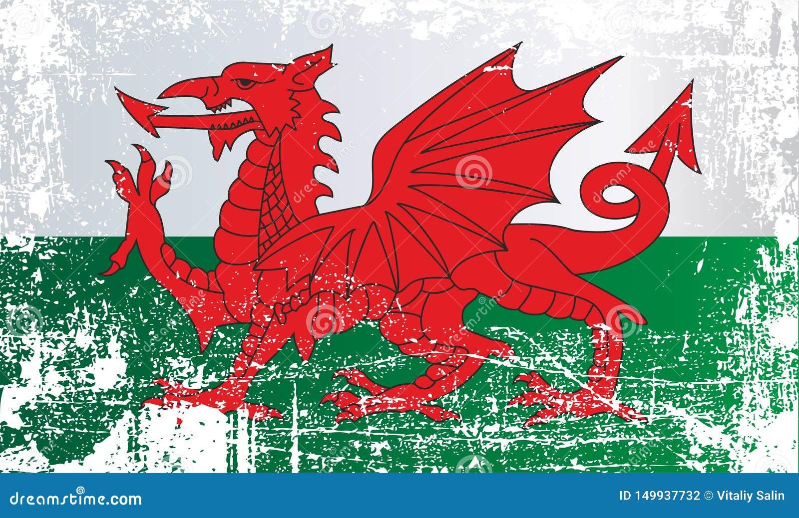 Flagge von Wales, Vereinigtes Königreich Geknitterte schmutzige Stellen
