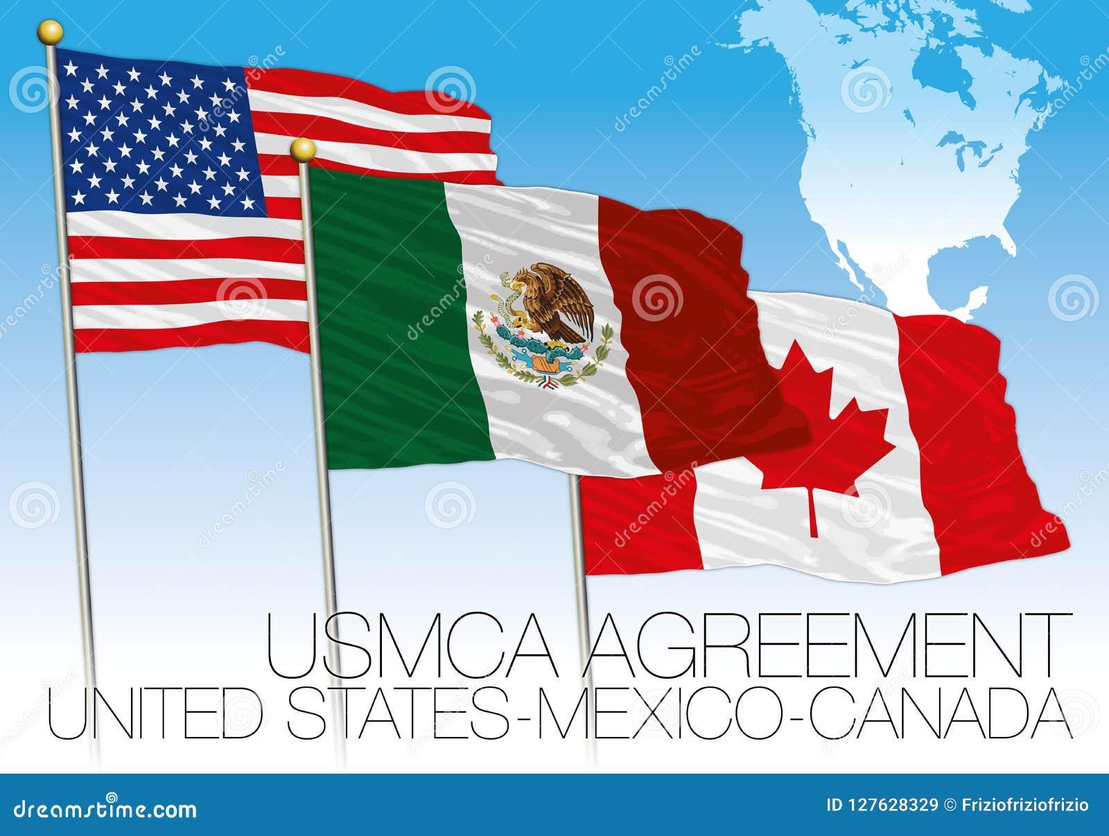 Mexiko Staaten Karte.Flaggen Usmca Vereinbarung 2018 Vereinigte Staaten Mexiko
