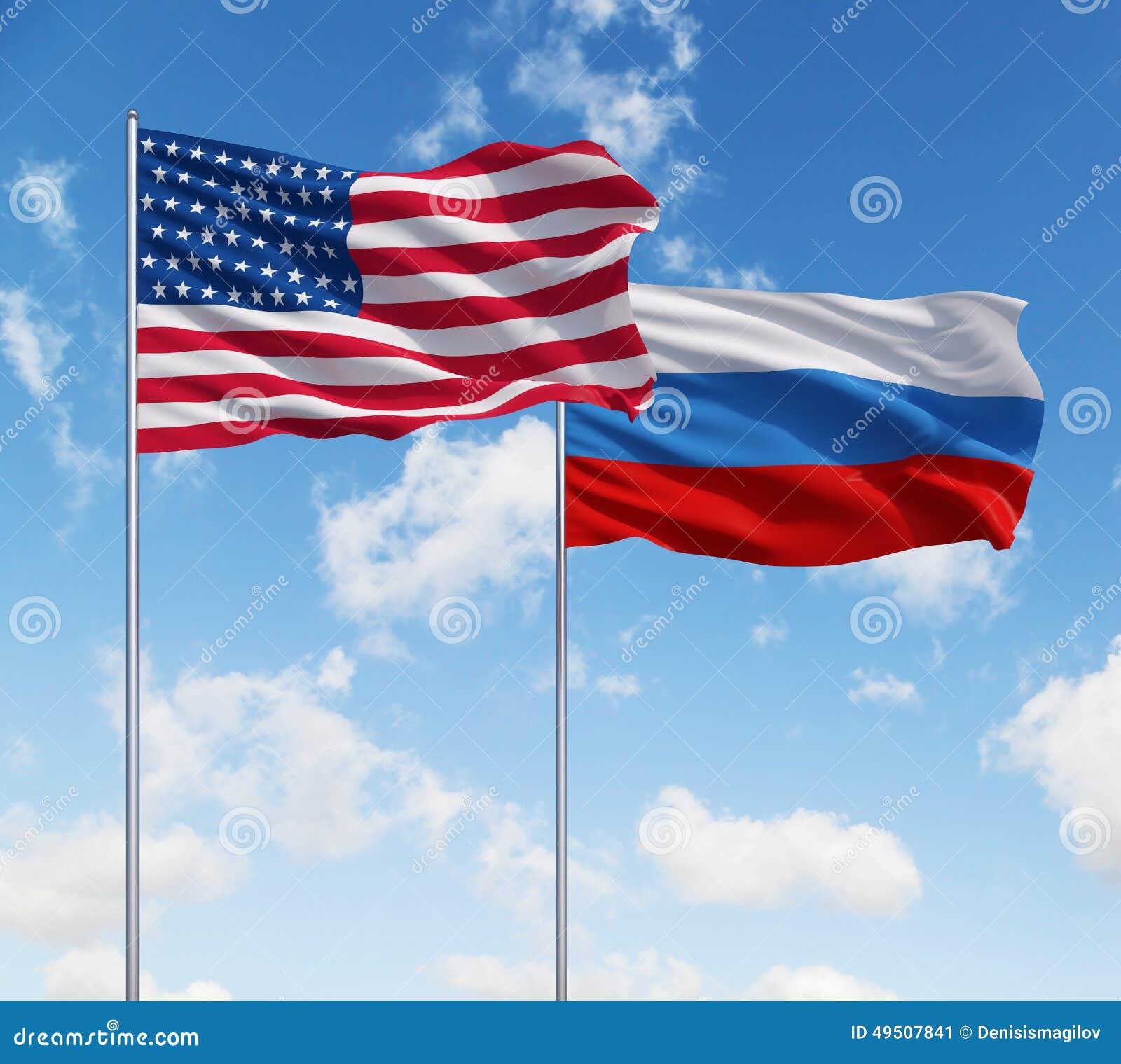 Flaggen Von USA Und Von Russland Stockfoto