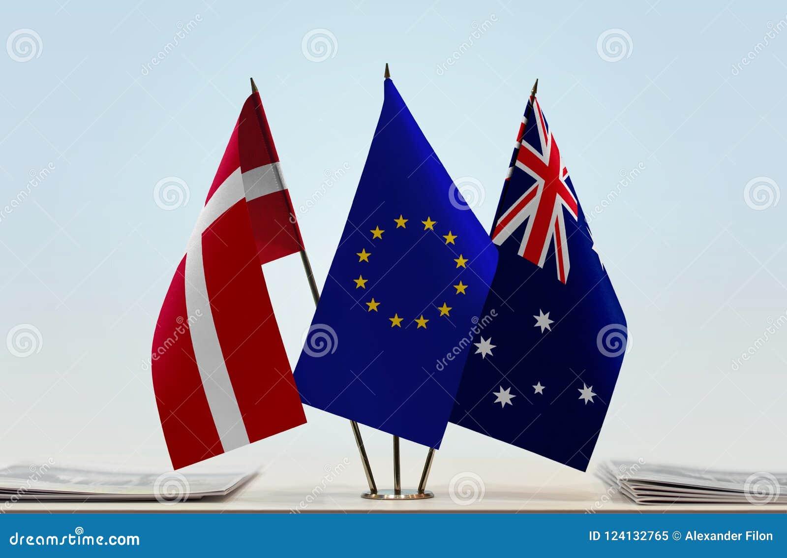 Flaggor av Danmark EU och Australien