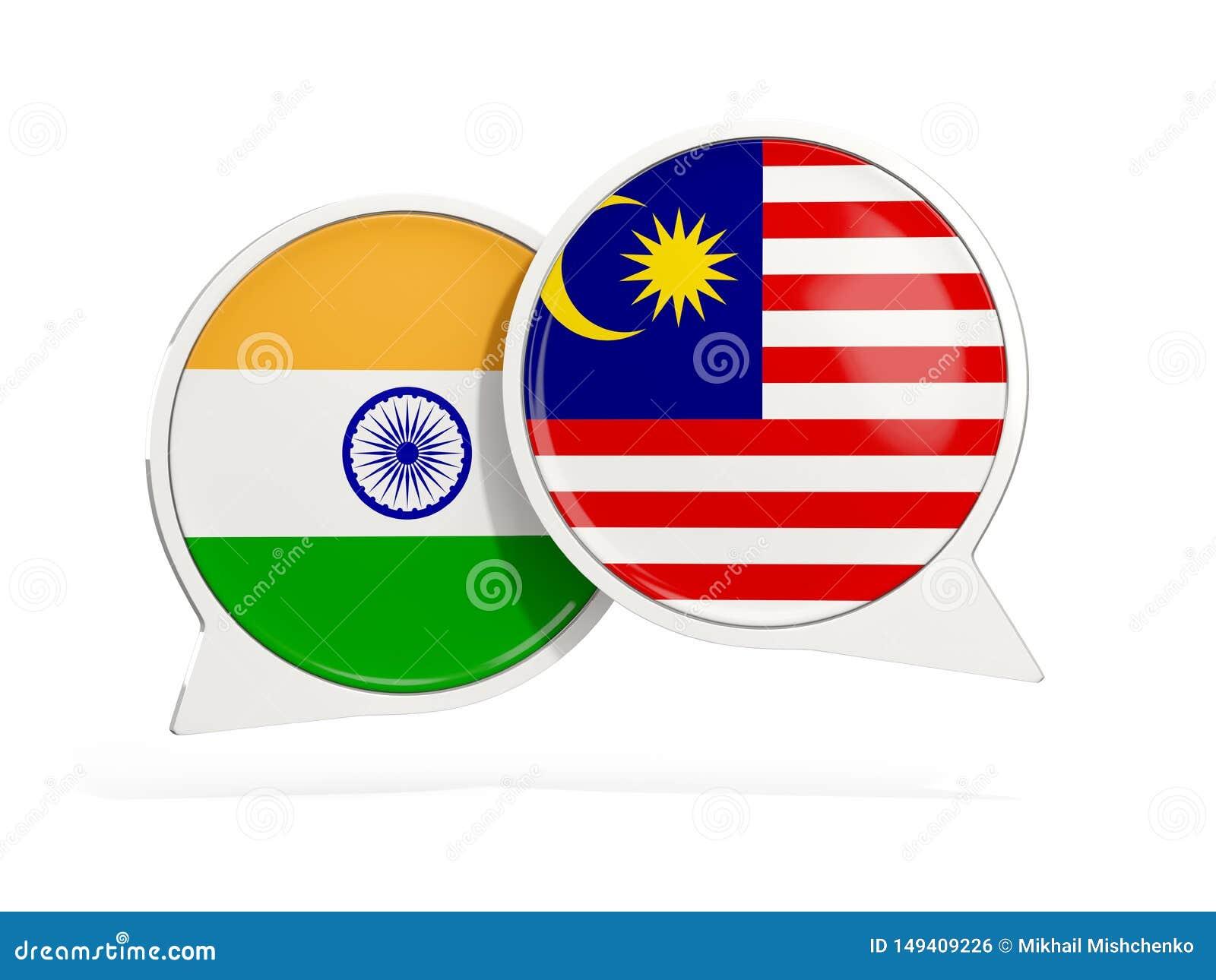 Flaggor av Indien och Malaysia inom pratstundbubblor