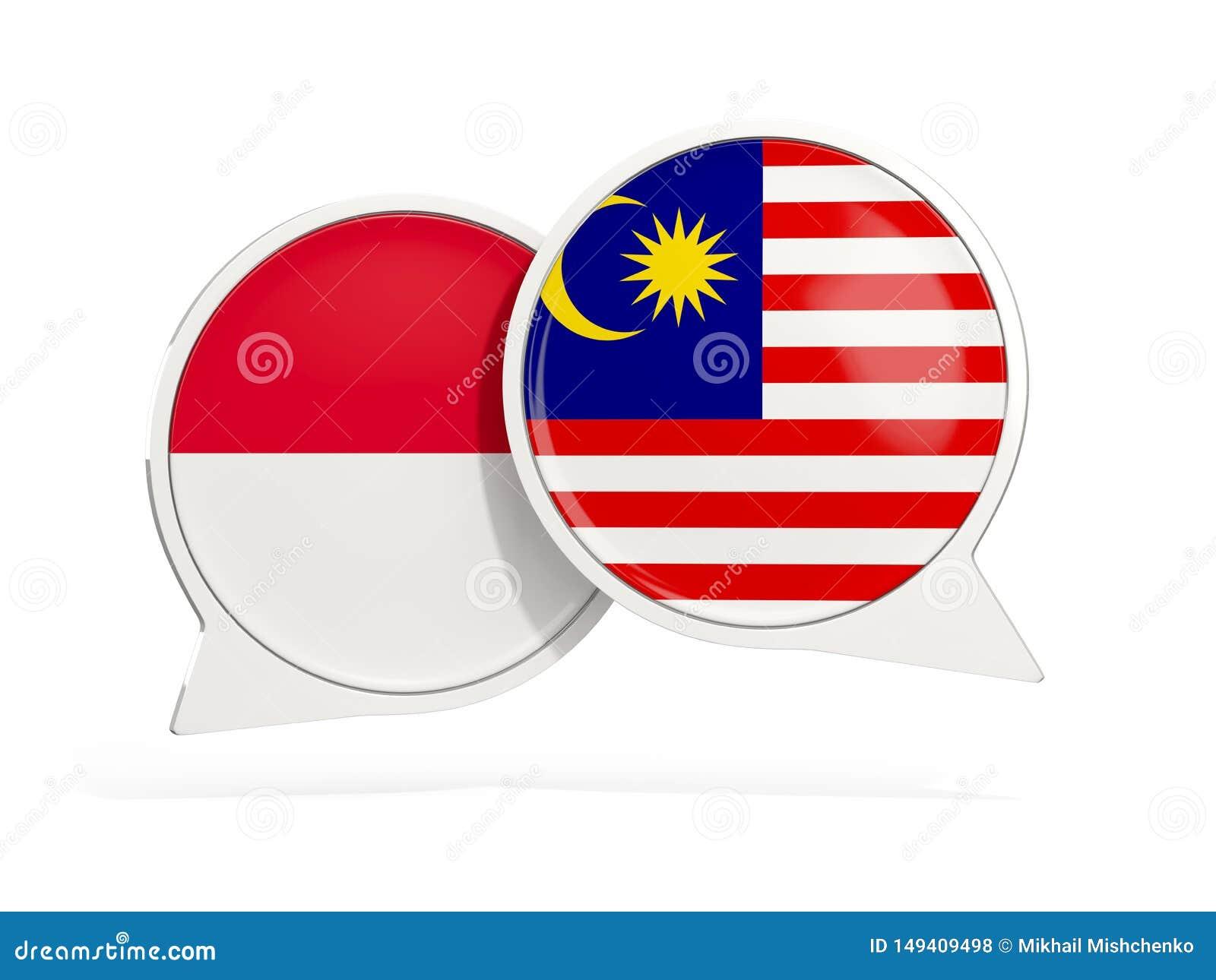 Flaggor av Indonesien och Malaysia inom pratstundbubblor