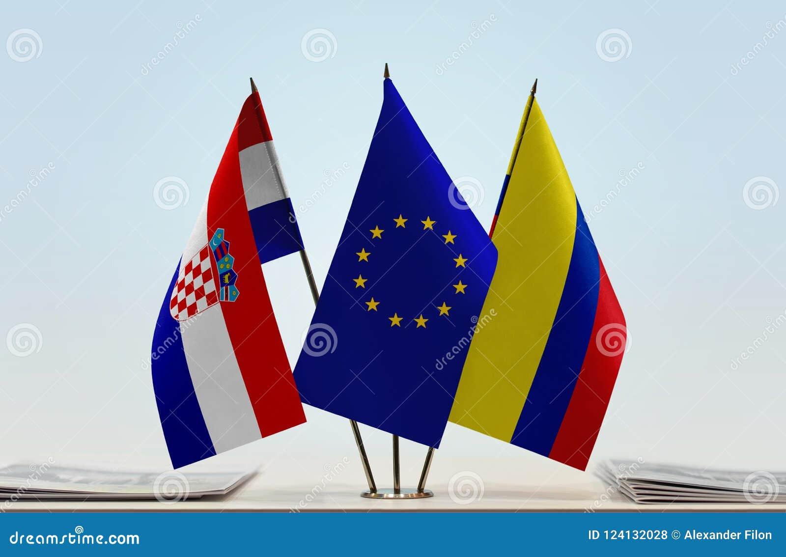 Flaggor av Kroatien EU och Colombia