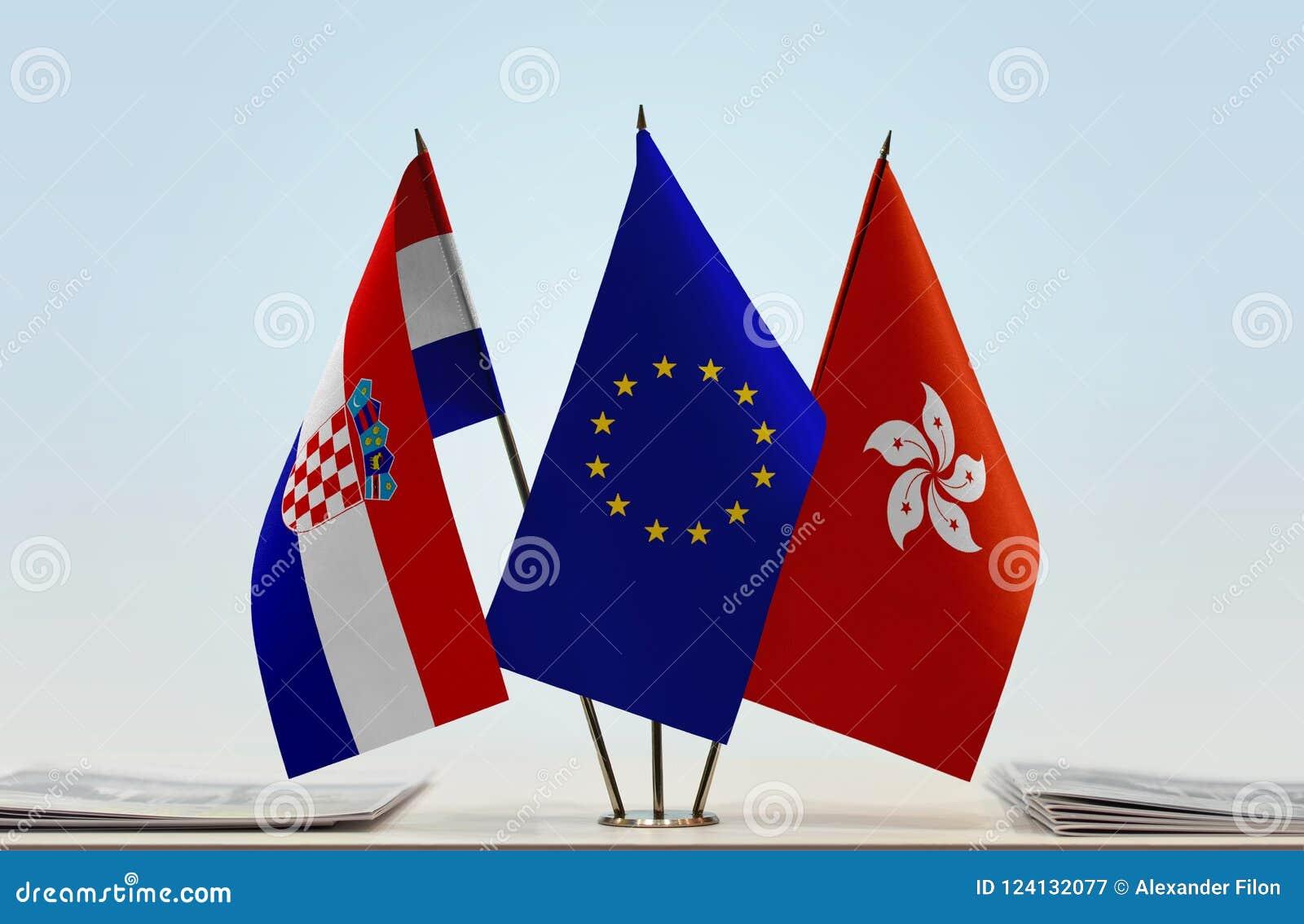 Flaggor av Kroatien EU och Hong Kong