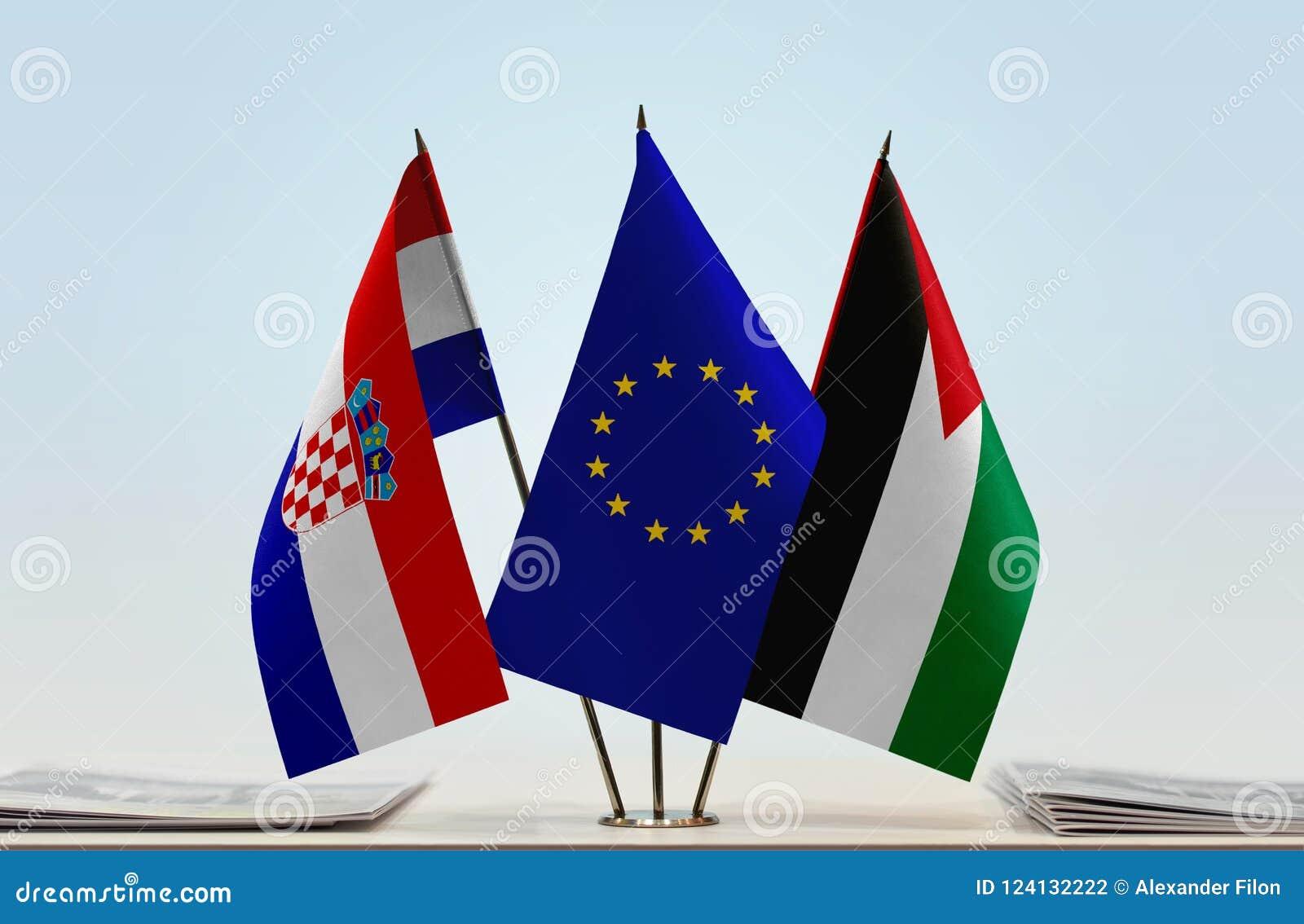 Flaggor av Kroatien EU och Palestina