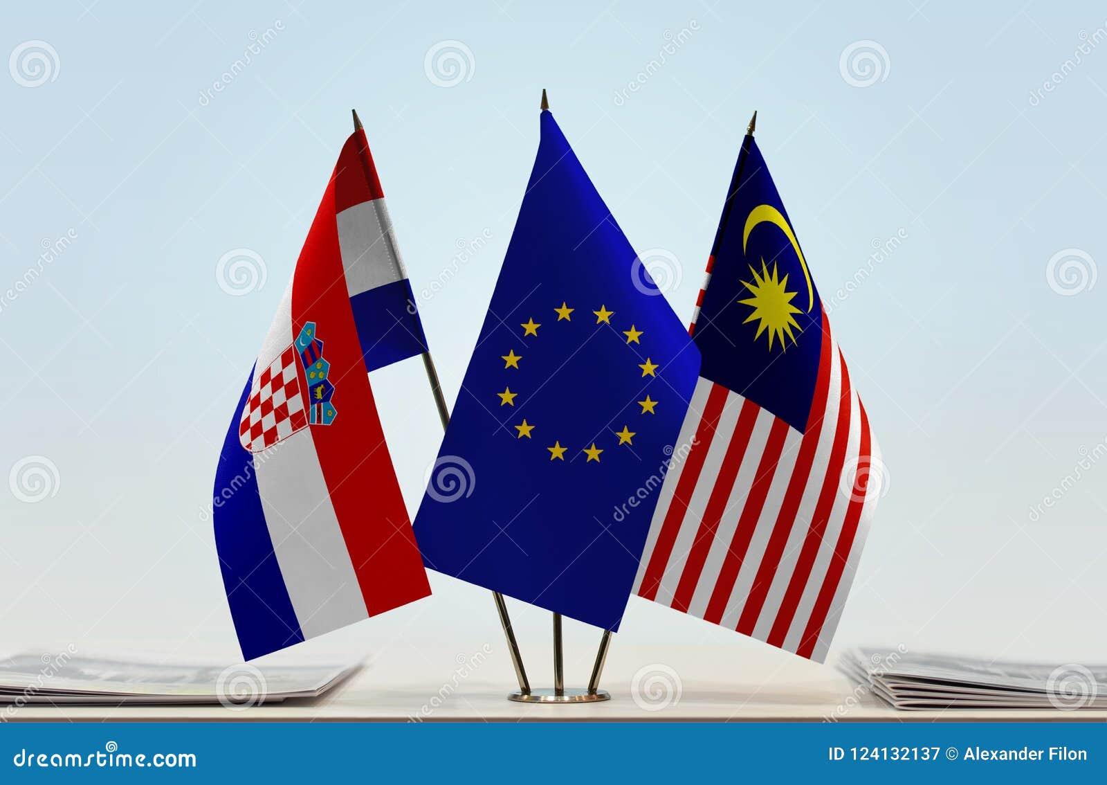 Flaggor av KroatienEU och Malaysia