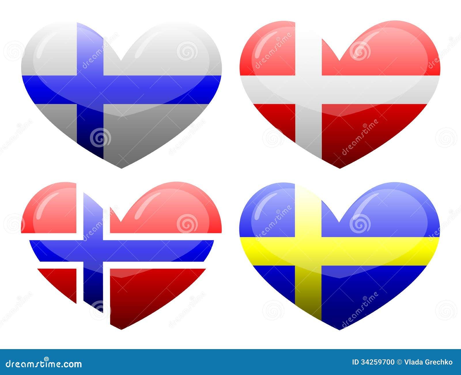 flaggor av skandinavien i form av hj rta. Black Bedroom Furniture Sets. Home Design Ideas