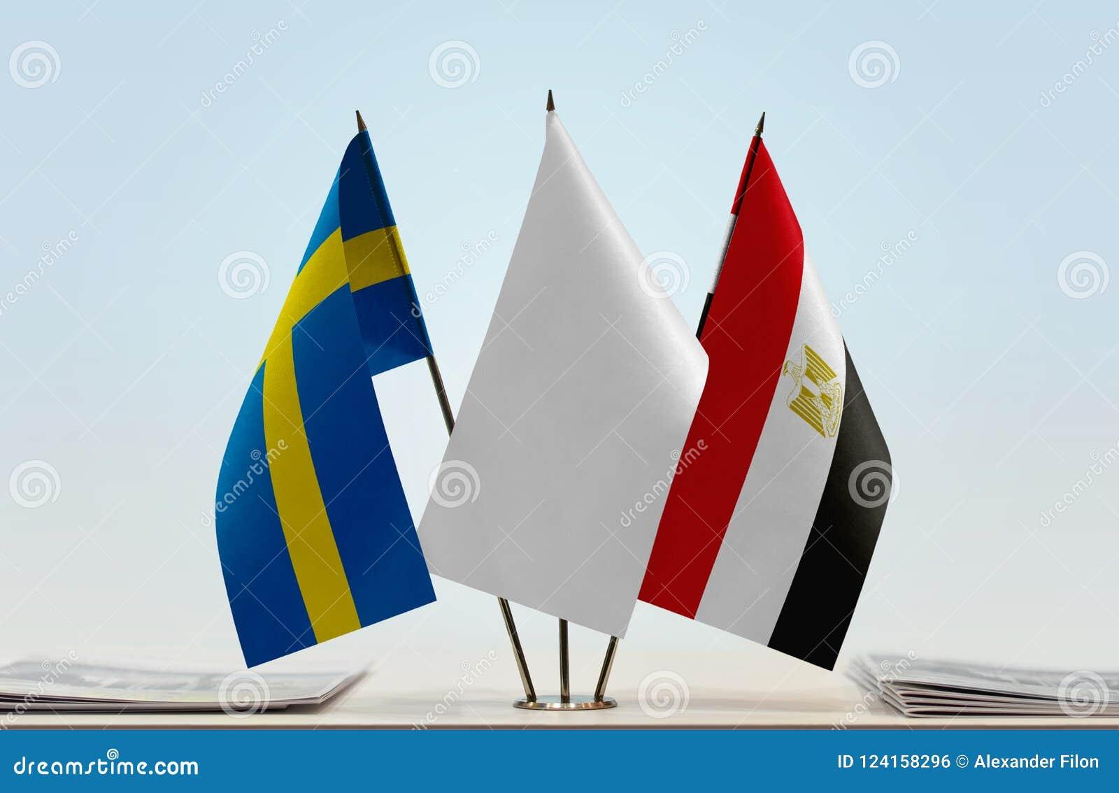 Flaggor av Sverige och Egypten