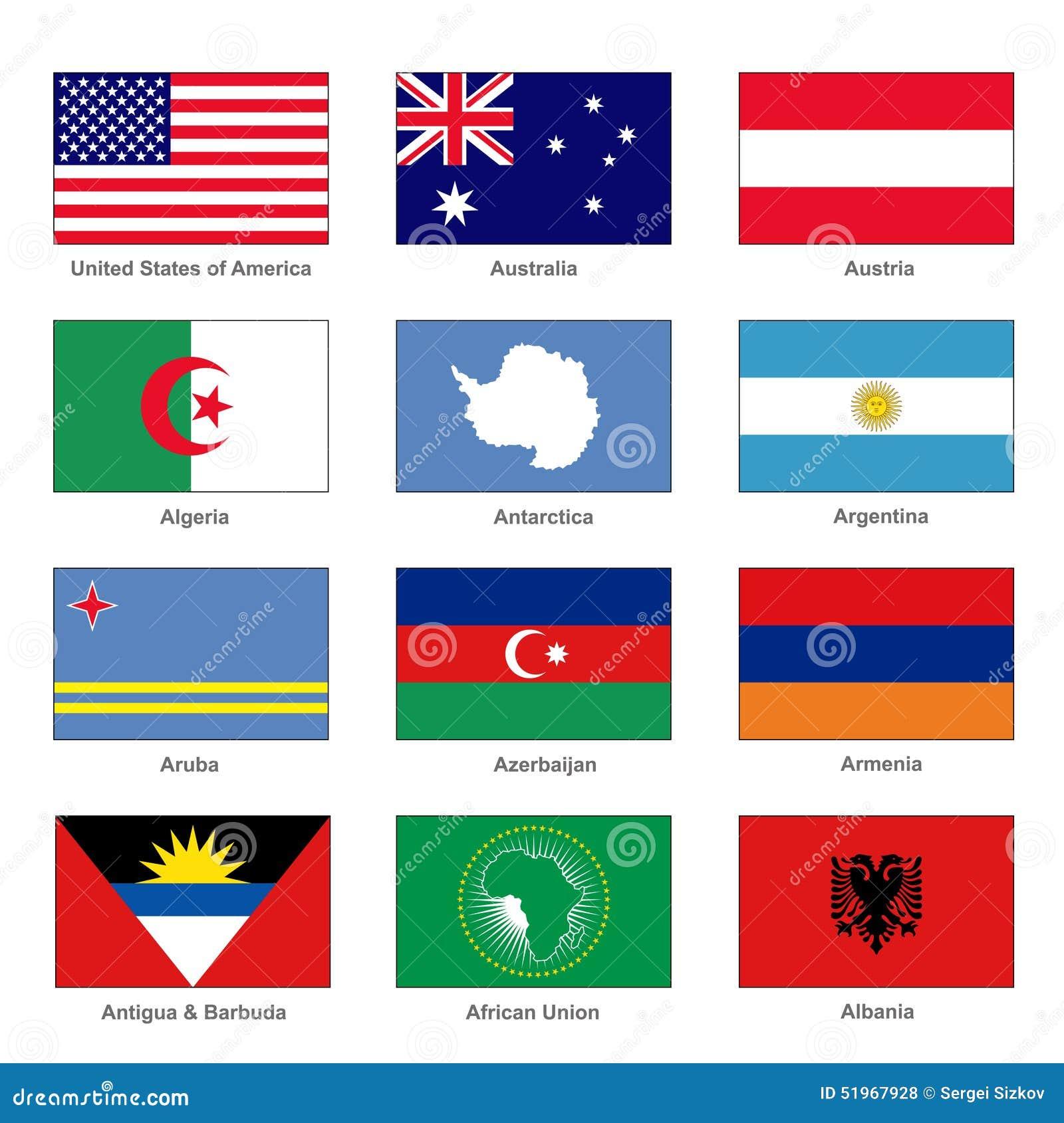 Flaggor ställde in världen Känt land av bokstav A vektor