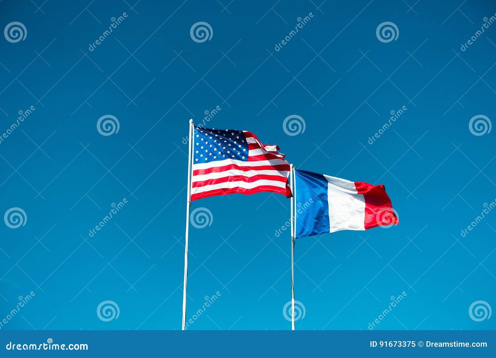 Flaggor USA och Frankrike