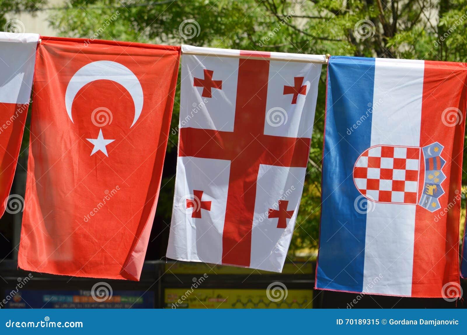 Flaggorna av Turkiet, Georgia och Kroatien