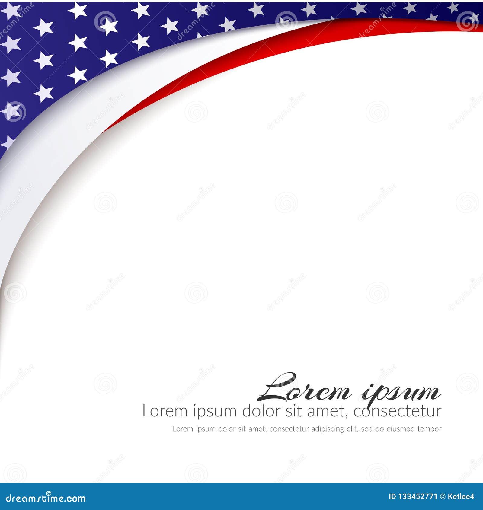 Flagi Amerykańskiej Wektorowy tło dla dnia niepodległości i inny wydarzenia Patriotyczny tło z gwiazdami i gładkimi falistymi lin