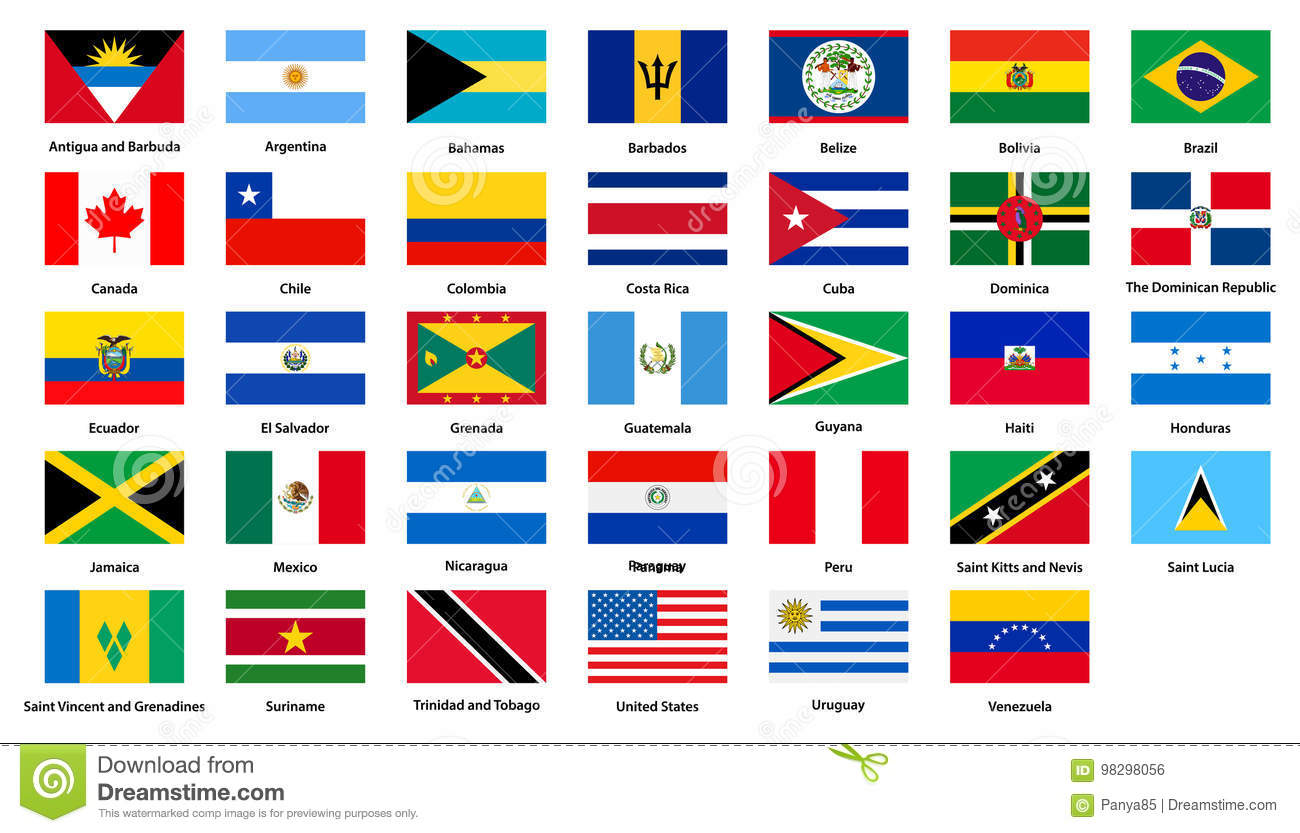 Flags Of All Countries Of The American Continents Stock