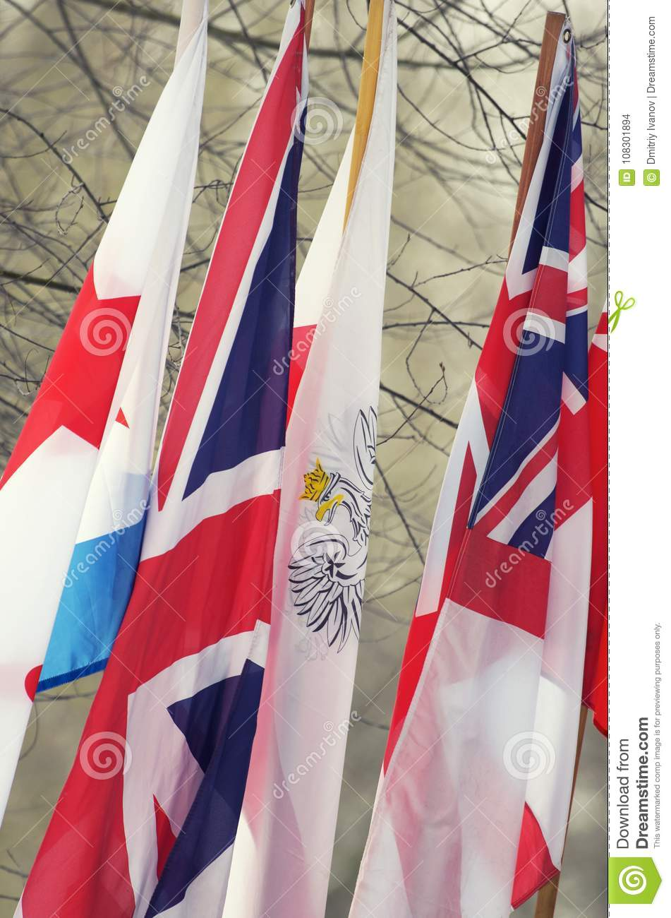 The Flags Of The Allied Anti-Hitler Coalition In World War