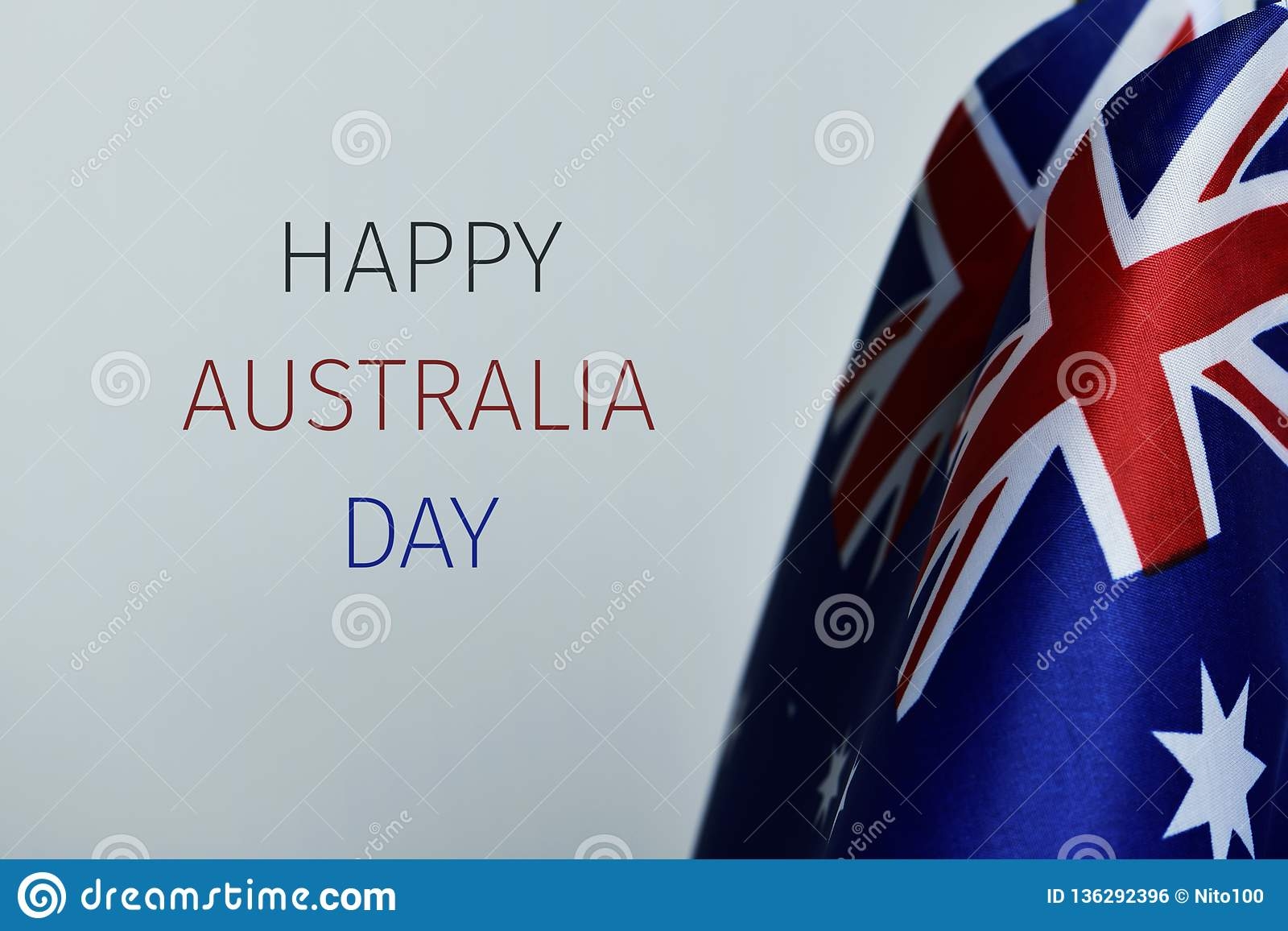 Flags of australia and text happy australia day