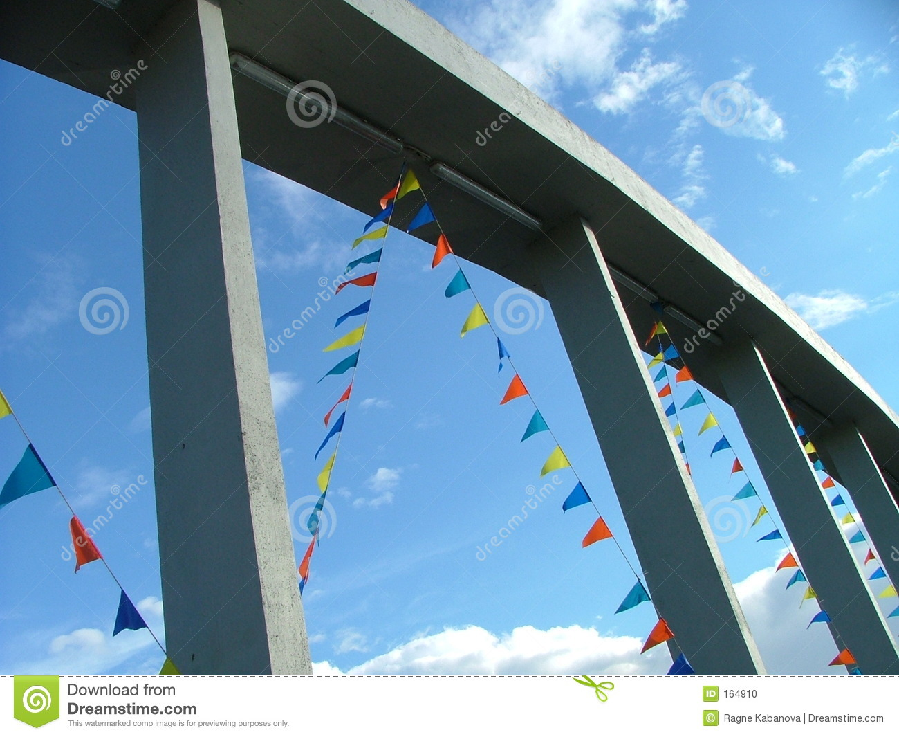 Flags on the bridge frame