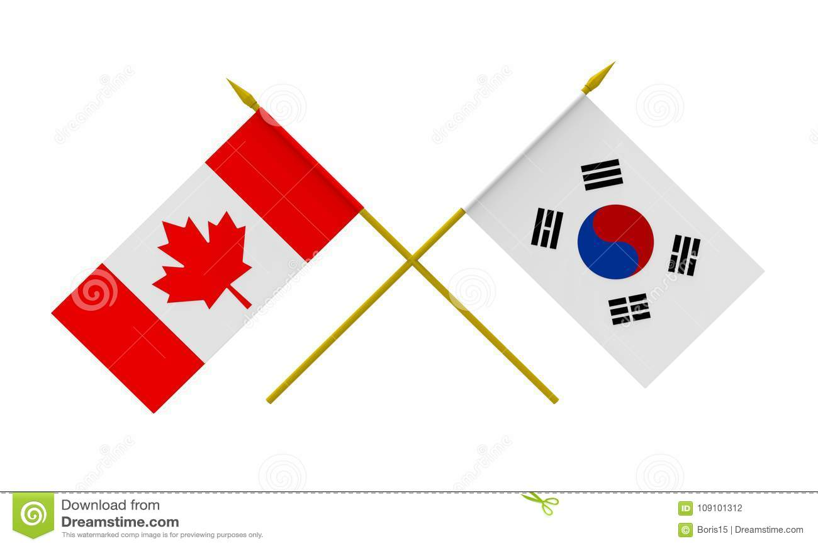 Flags, Canada and Republic of Korea