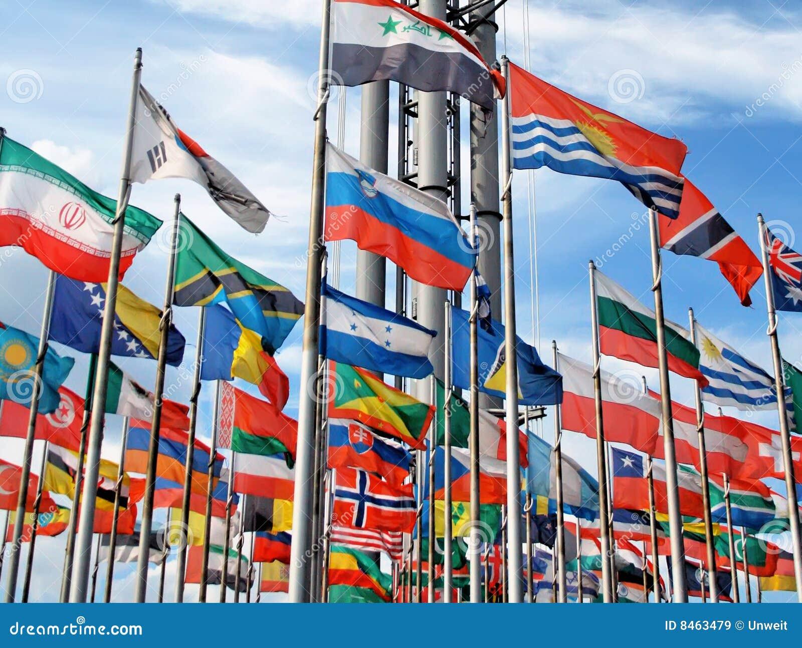 Flags den internationella skyen