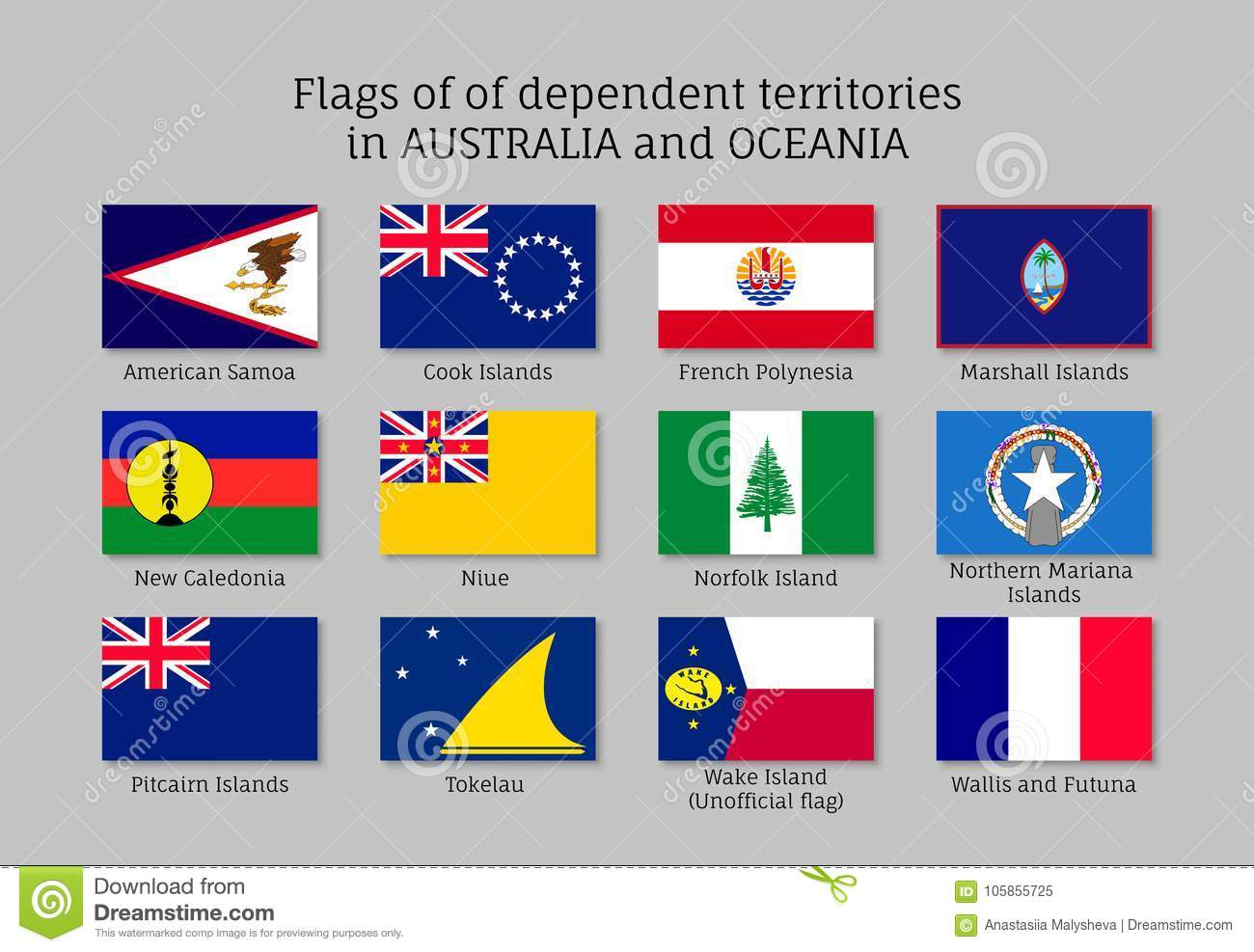 Flags Dependent Territories Australia And Oceania Flat Style Set