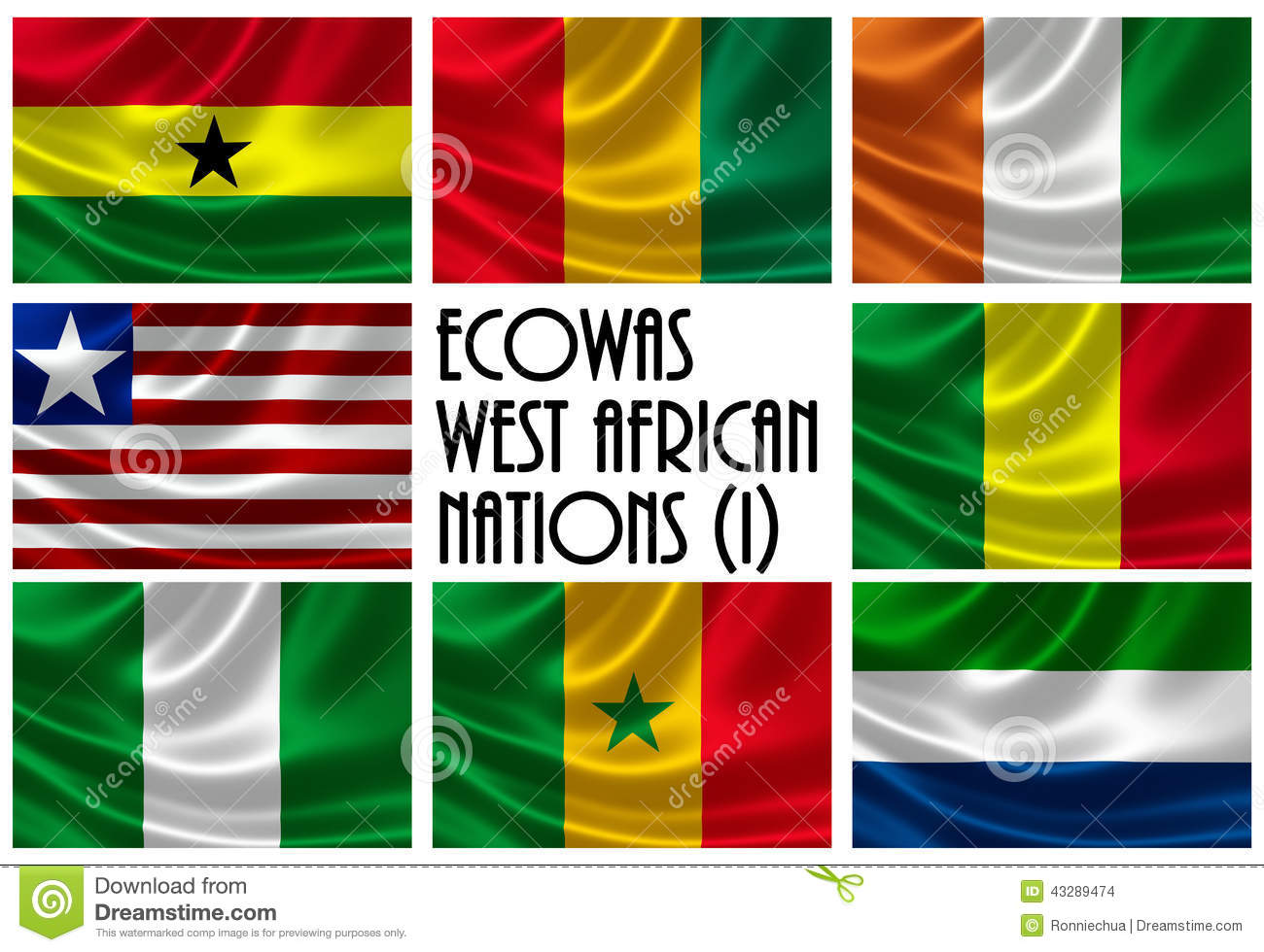flags of economic community of west african states ecowas part