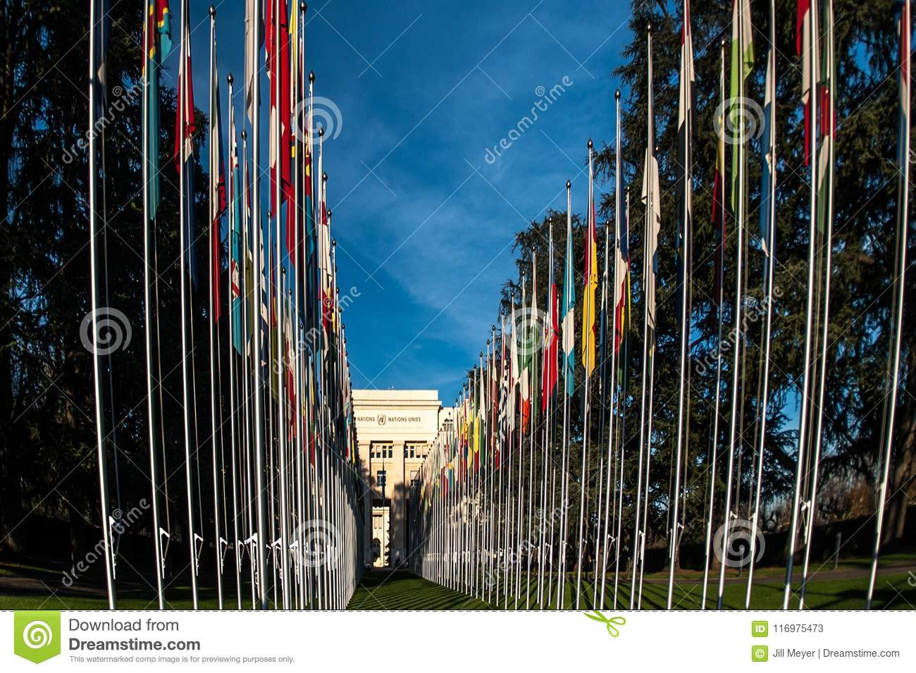 Flags in front of the United Nations building in Geneva Switzerland