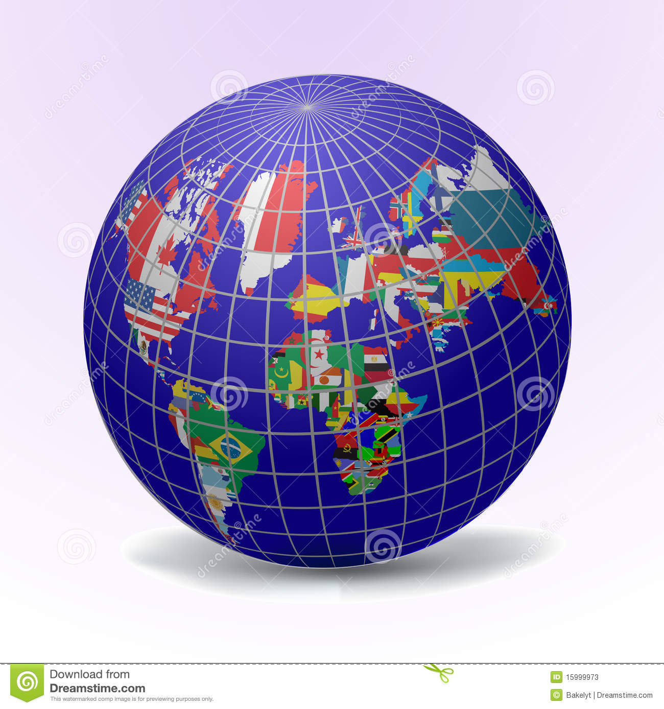 flags globe with world map glowing flag