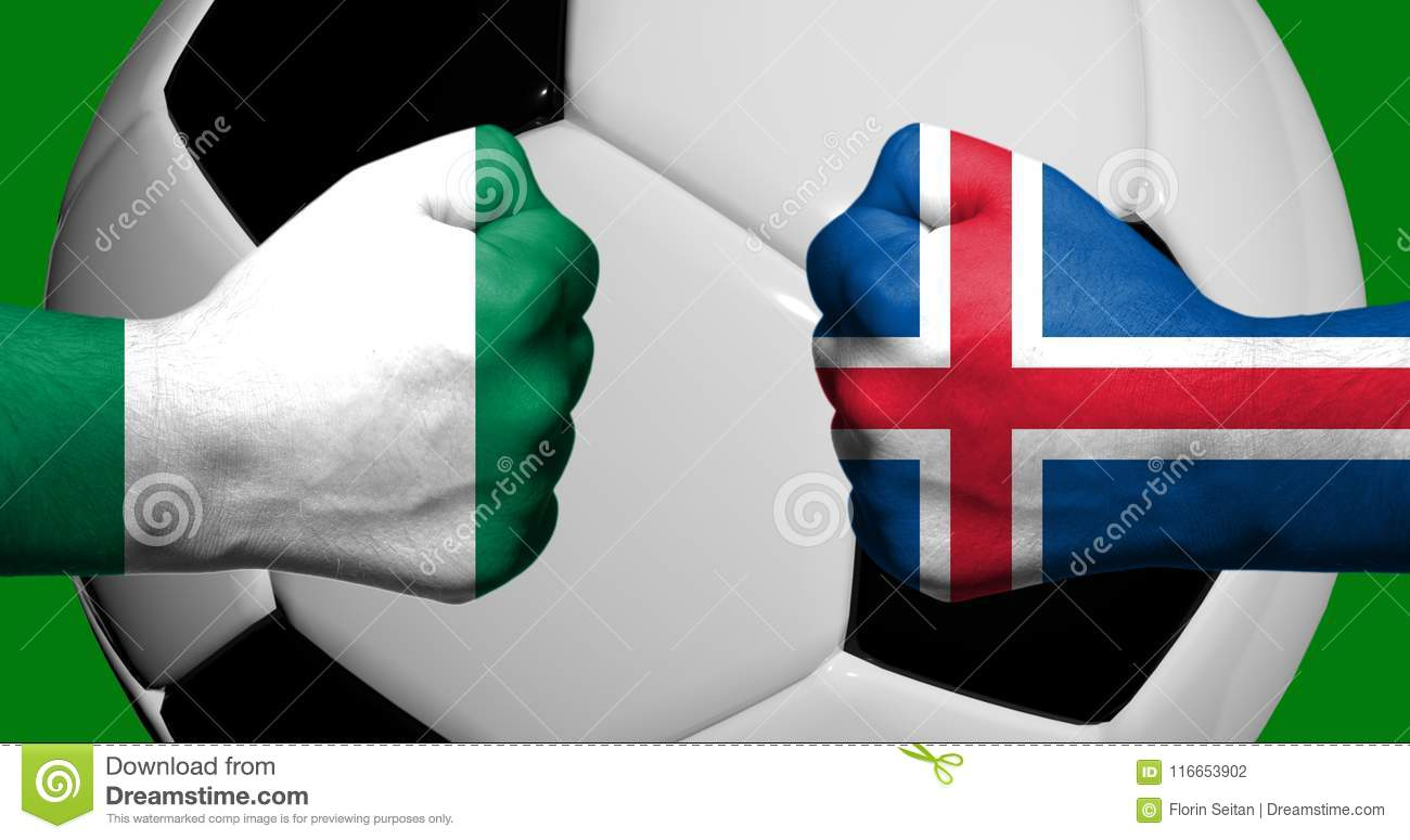 Flags of Iceland and Nigeria painted on two clenched fists facing each other with closeup 3d soccer ball in the background/Soccer