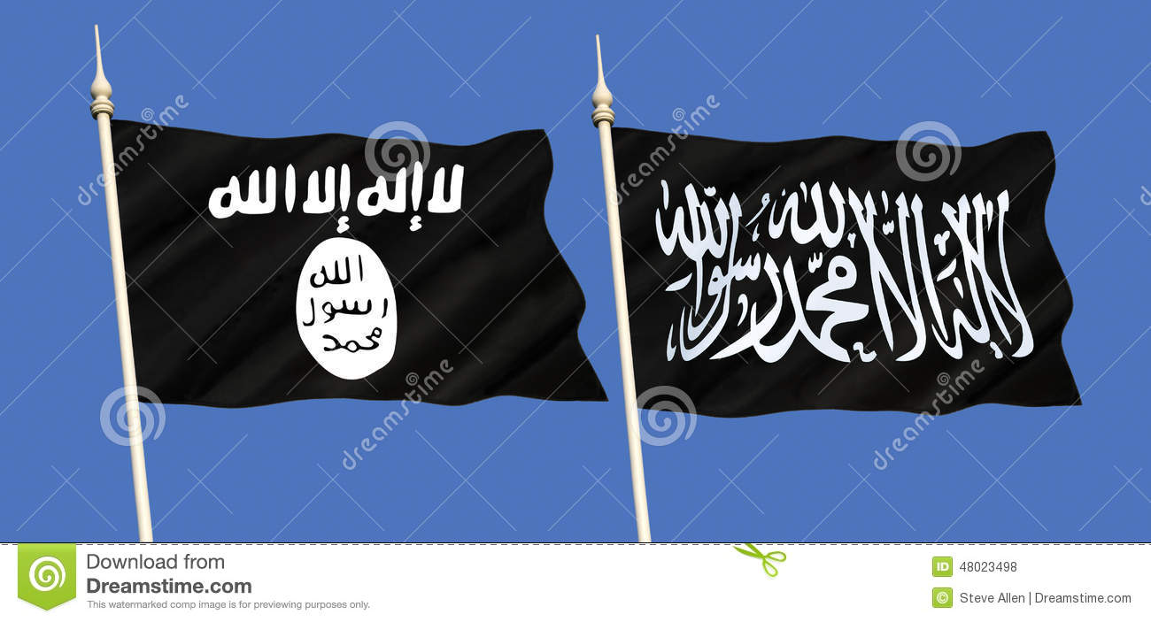 Flags of islamic state isis or isil and al qaeda image 48023498