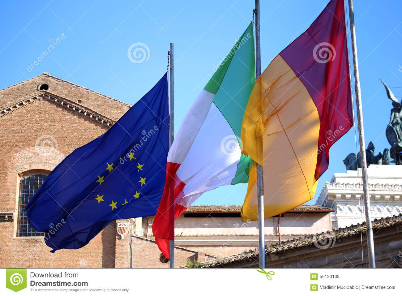 Flags Of Italy European Union And Roma City Waving In Rome Ita