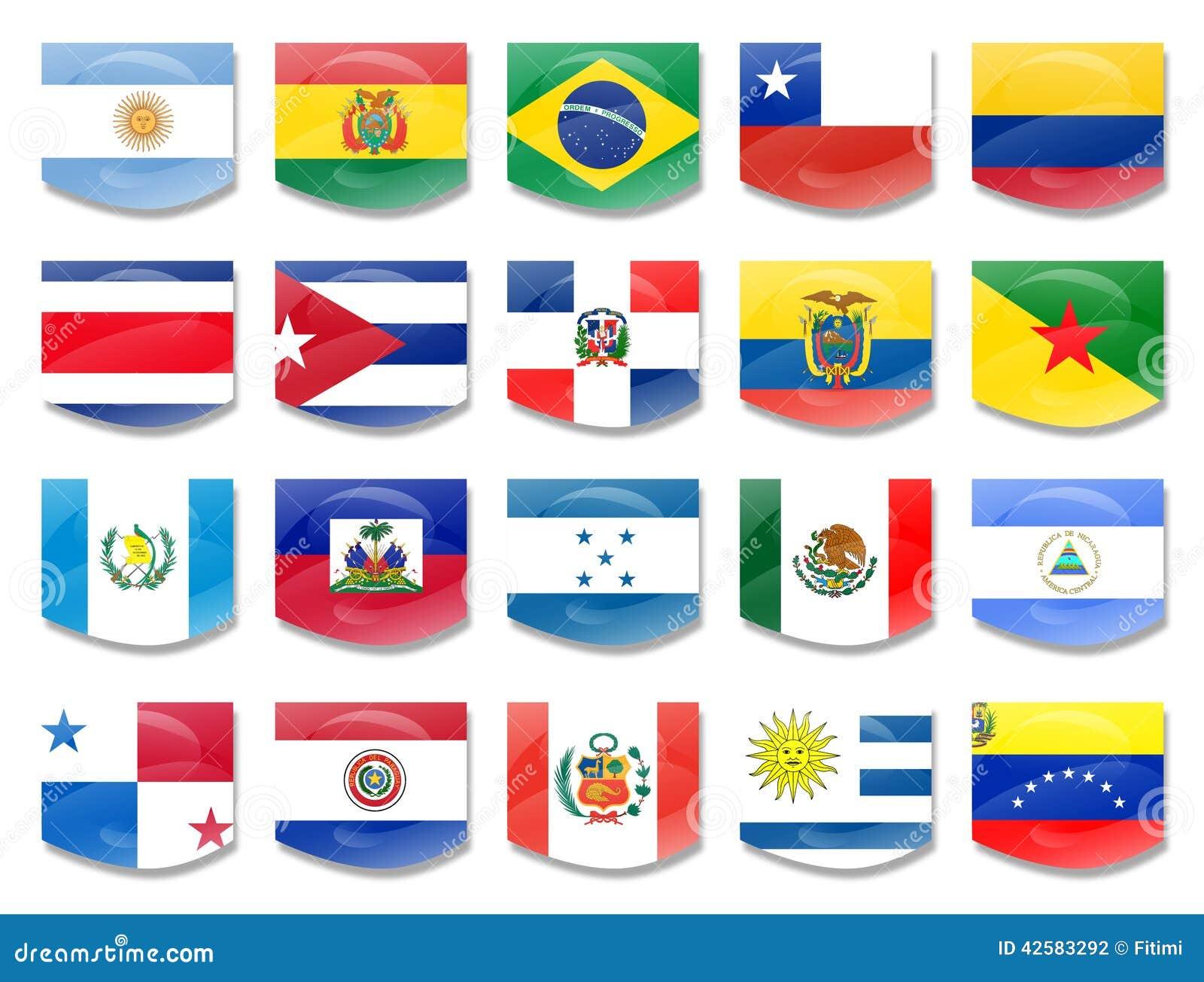 Mundo Intercultural Países Y Nacionalidades En Español: Flags Stock Photo
