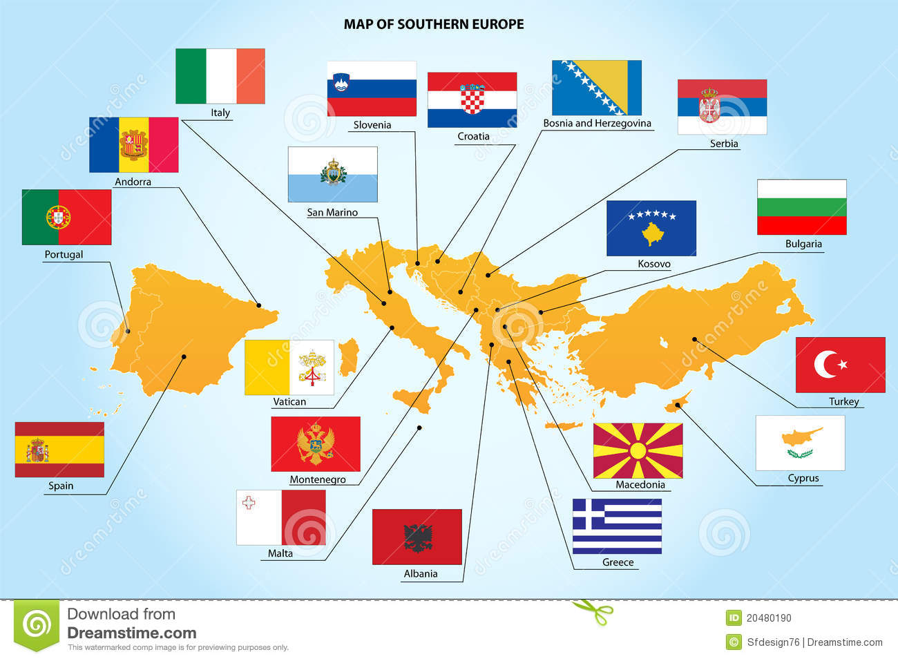 flags and map of southern europe countries stock photo image