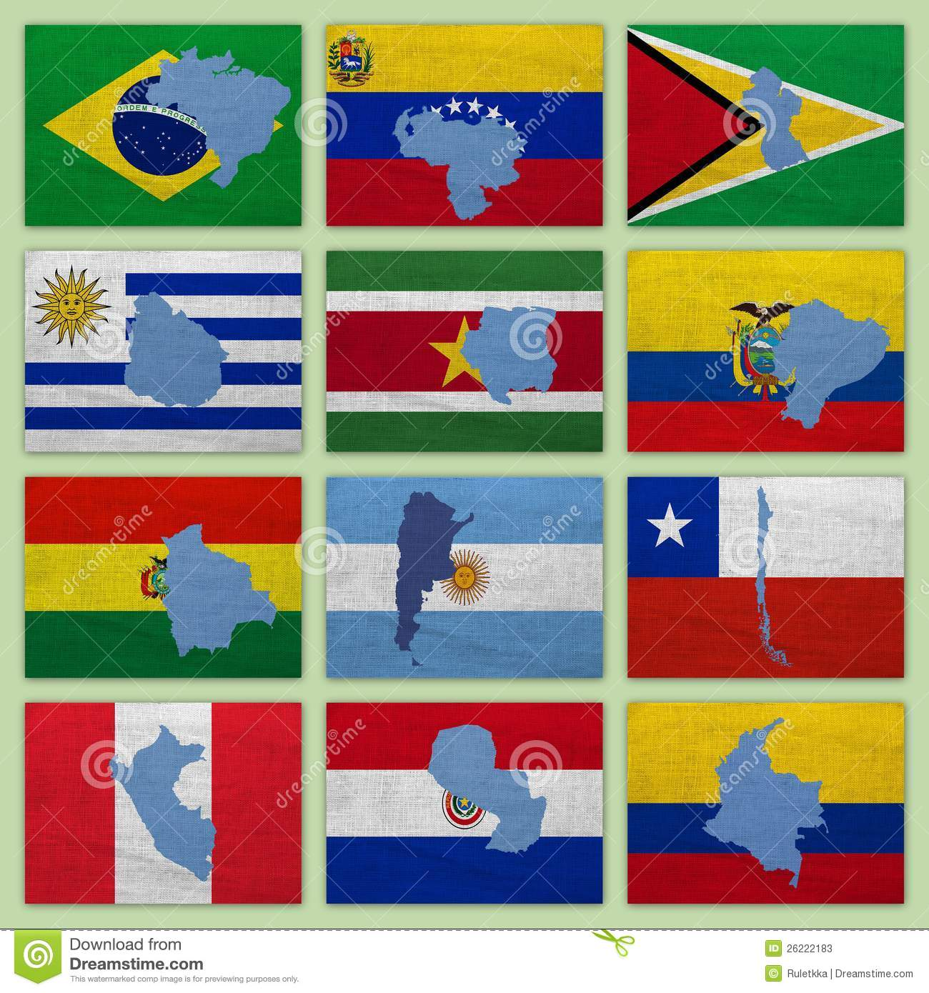 Flags And Maps Of South America Countries Stock Photos Image - South america map and flags