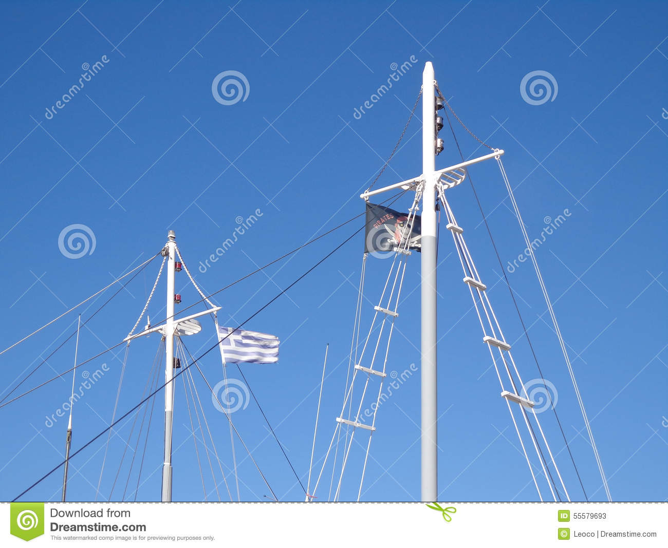 Flags on the masts