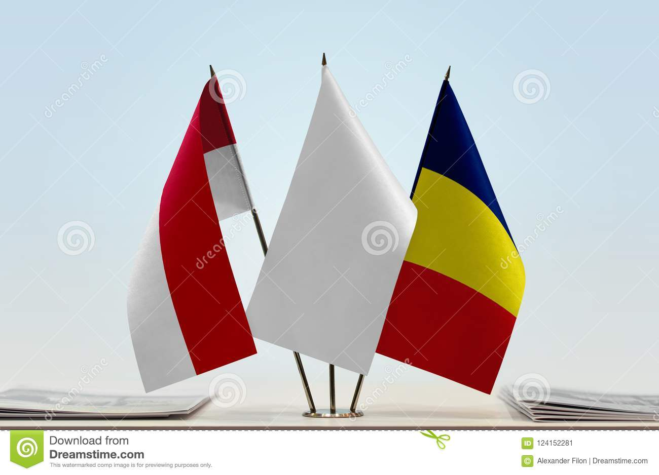 Flags of Monaco and Chad