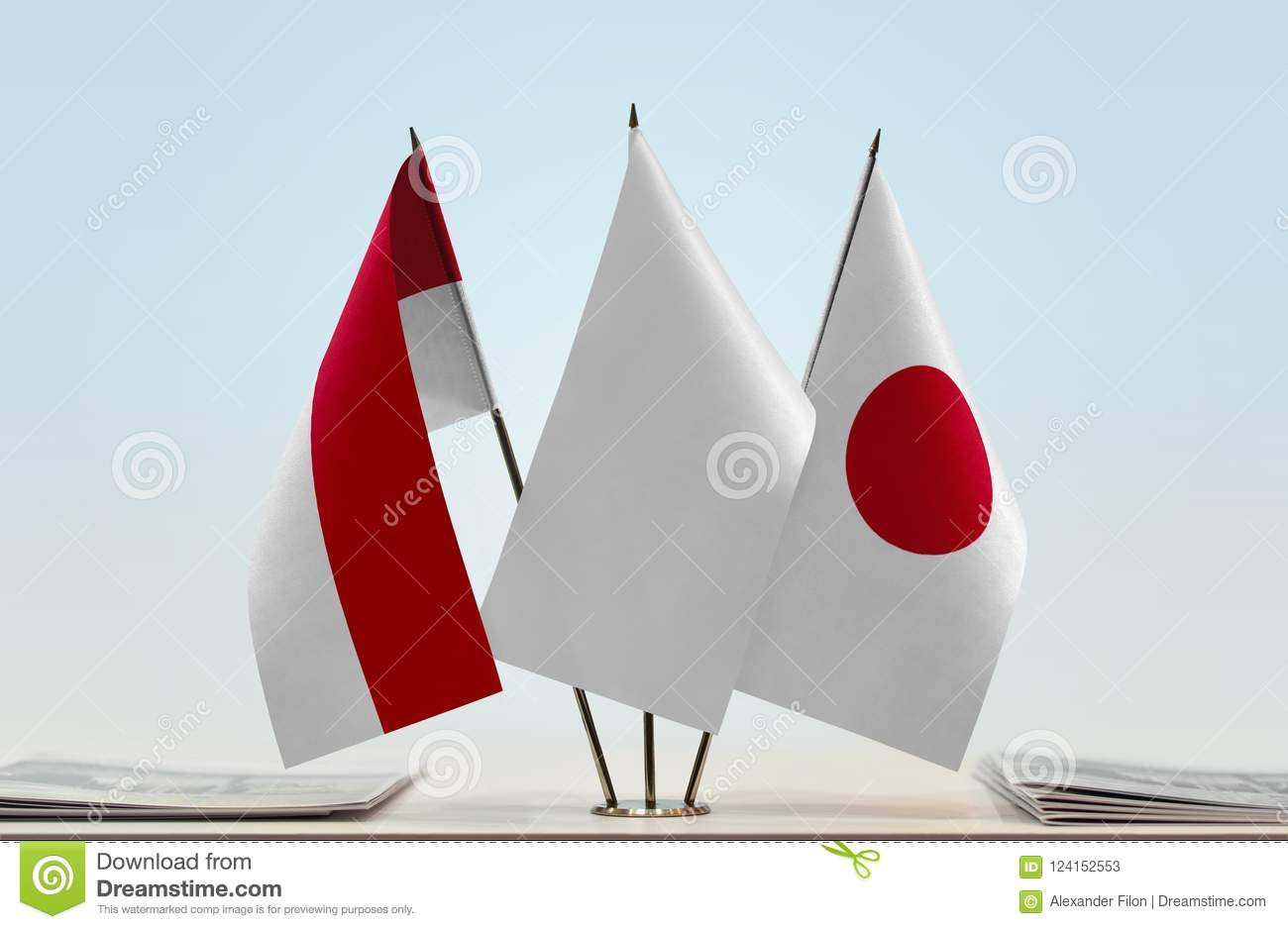 Flags of Monaco and Japan
