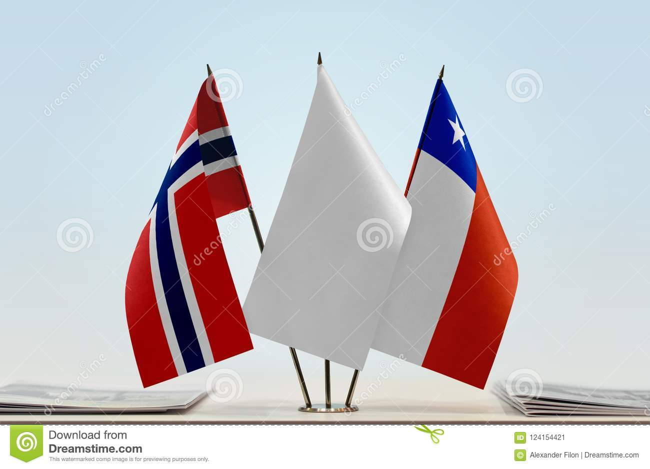 Flags of Norway and Chile