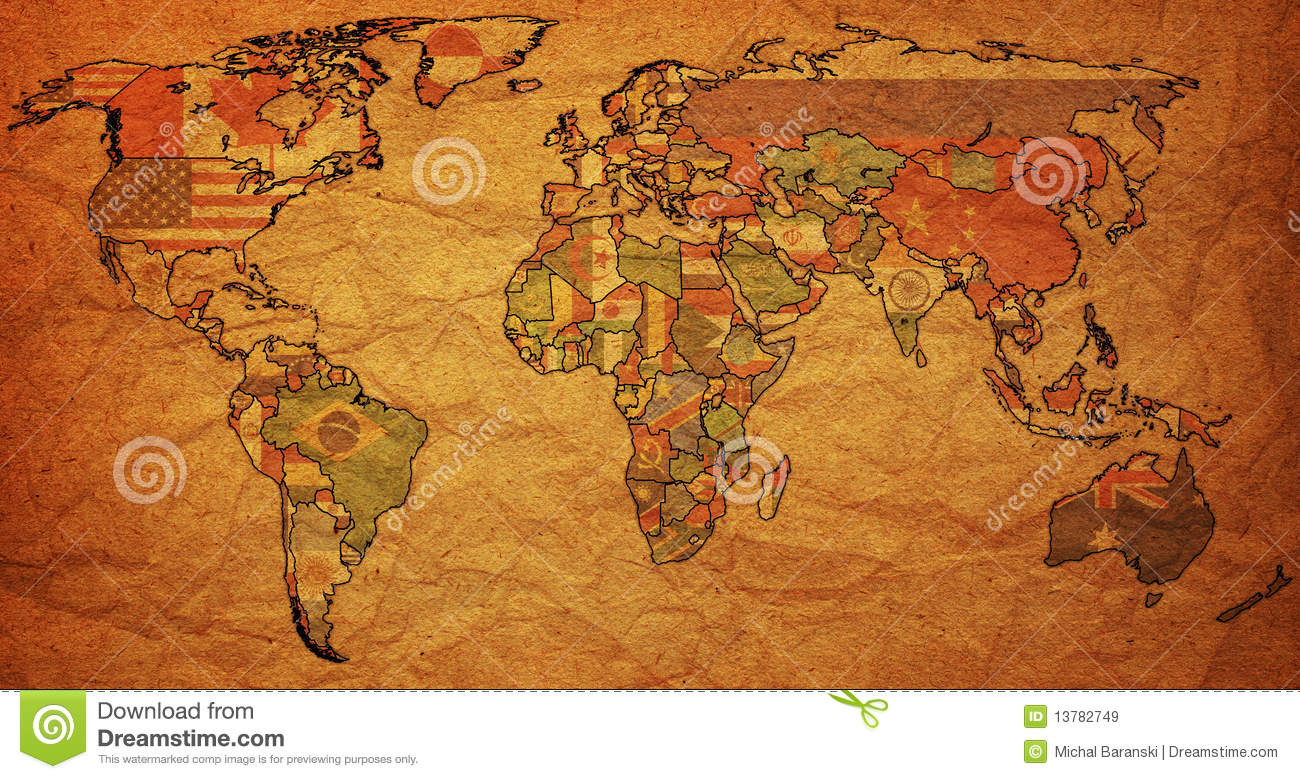 Flags on old political map of world stock illustration flags on old political map of world gumiabroncs Image collections