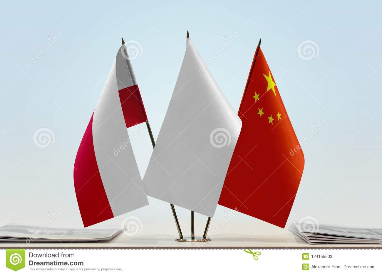 Flags of Poland and China